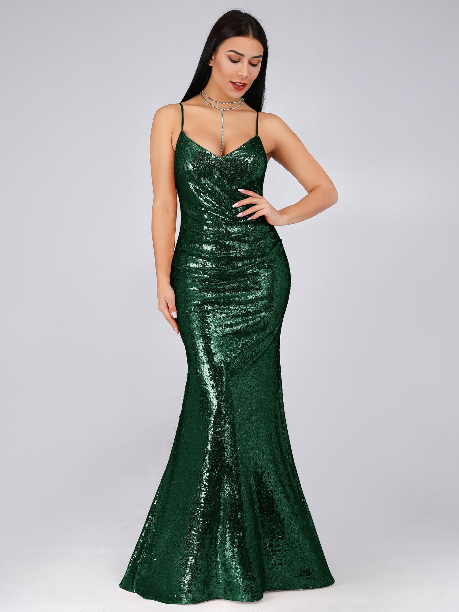 605fd537ac2 Ever-Pretty Glitter Long Strappy Deep V-neck Ball Prom Gown Party ...