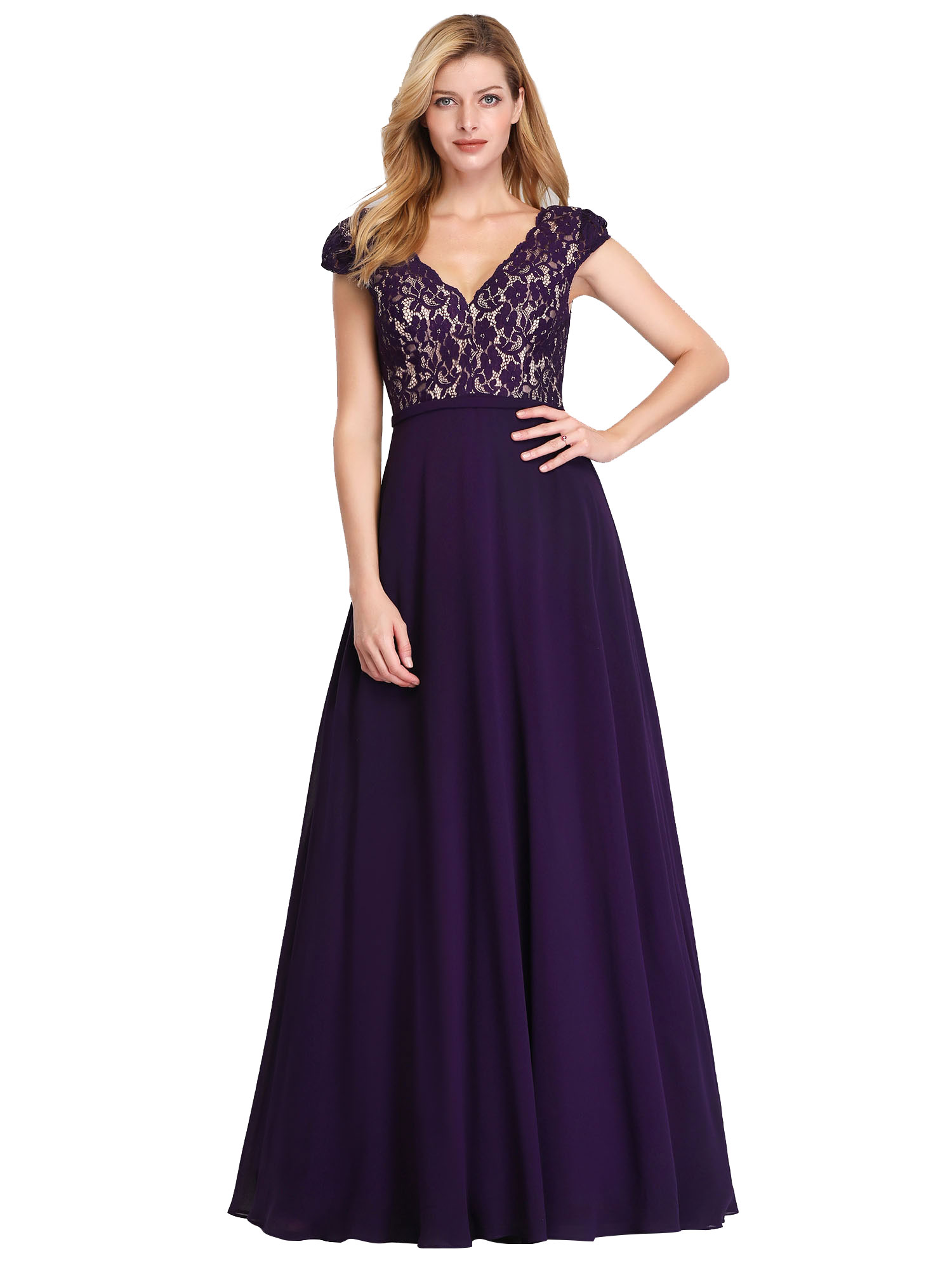 Details about Ever-pretty Long Purple V-neck Evening Gown Formal Party  A-line Dress Plus Size