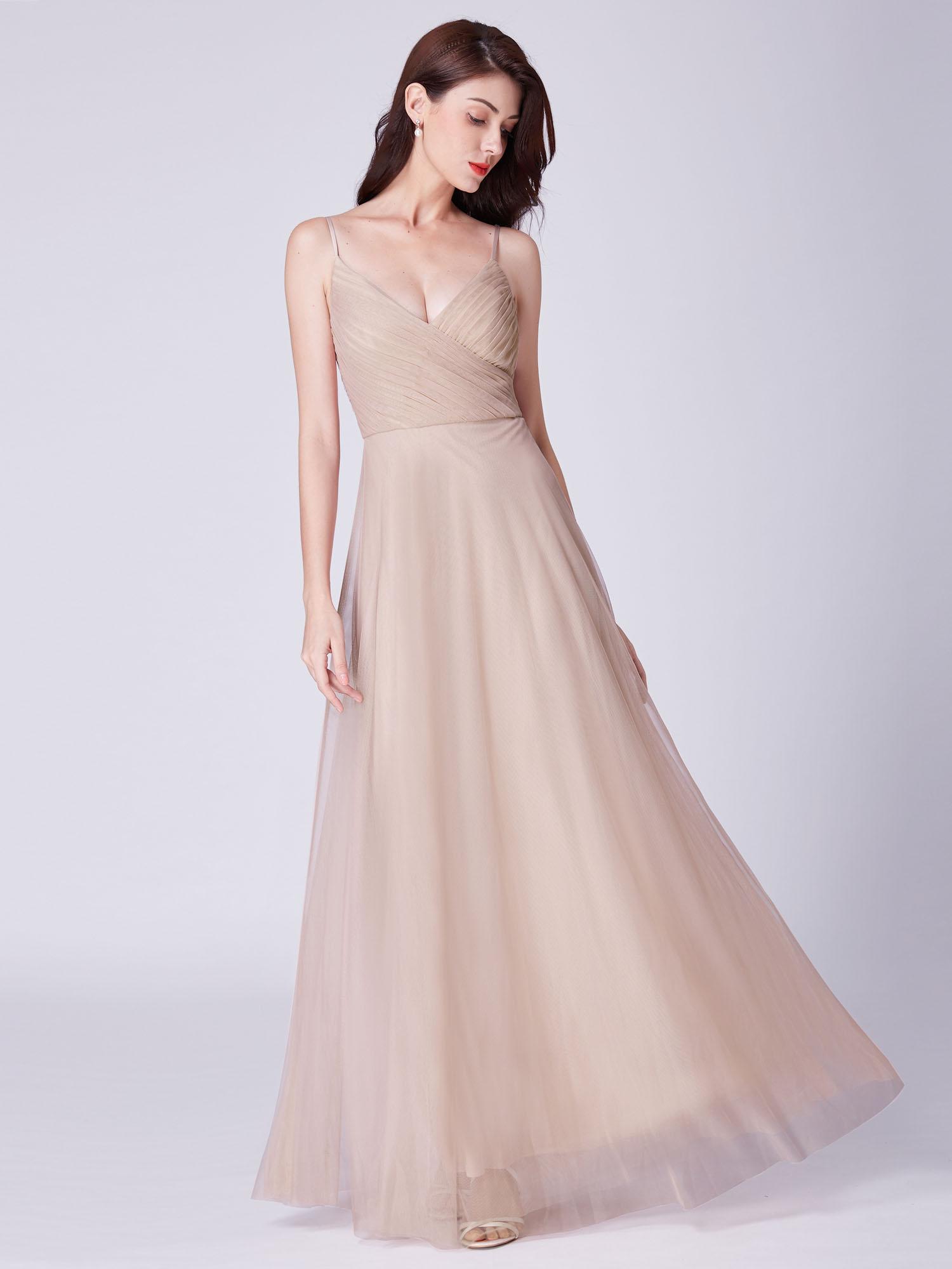 Ever-Pretty Long Formal Wedding Evening Ball Gown Bridesmaid Blush ...