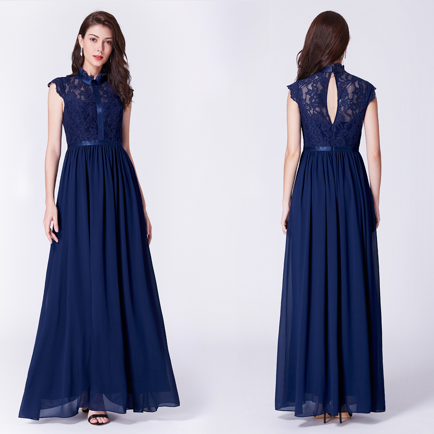 4fbc527063 Long Navy Blue Lace Bridesmaid Dresses - Gomes Weine AG