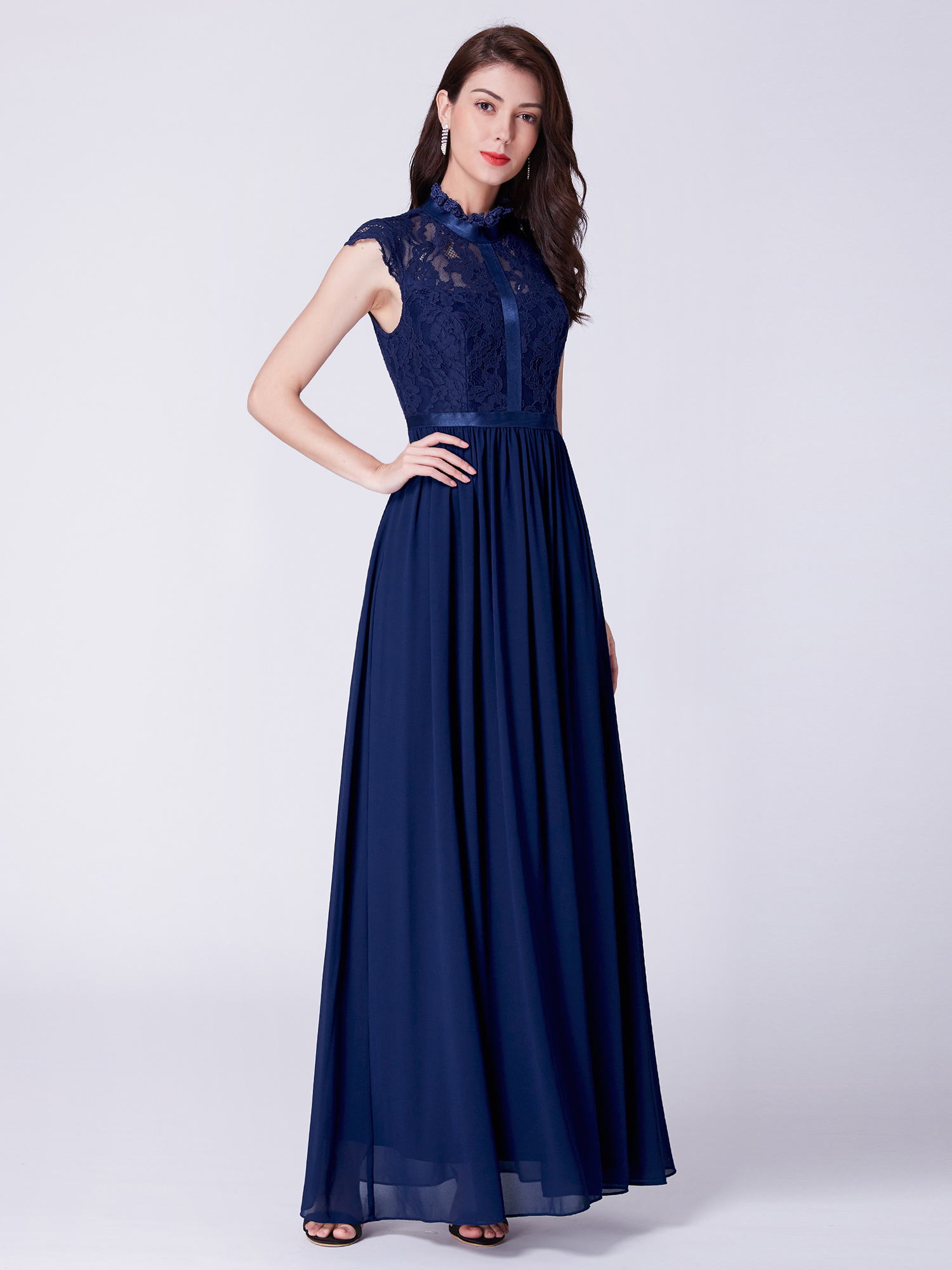 611bf44490b Ever-Pretty Navy Blue Homecoming Dresses Long Lace Backless Holiday ...