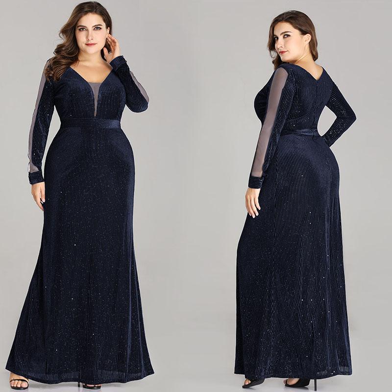 0c289becd5e6 Ever-Pretty US Long Celebrity Dress V-Neck Glitter Navy Blue Bodycon Dress  07394