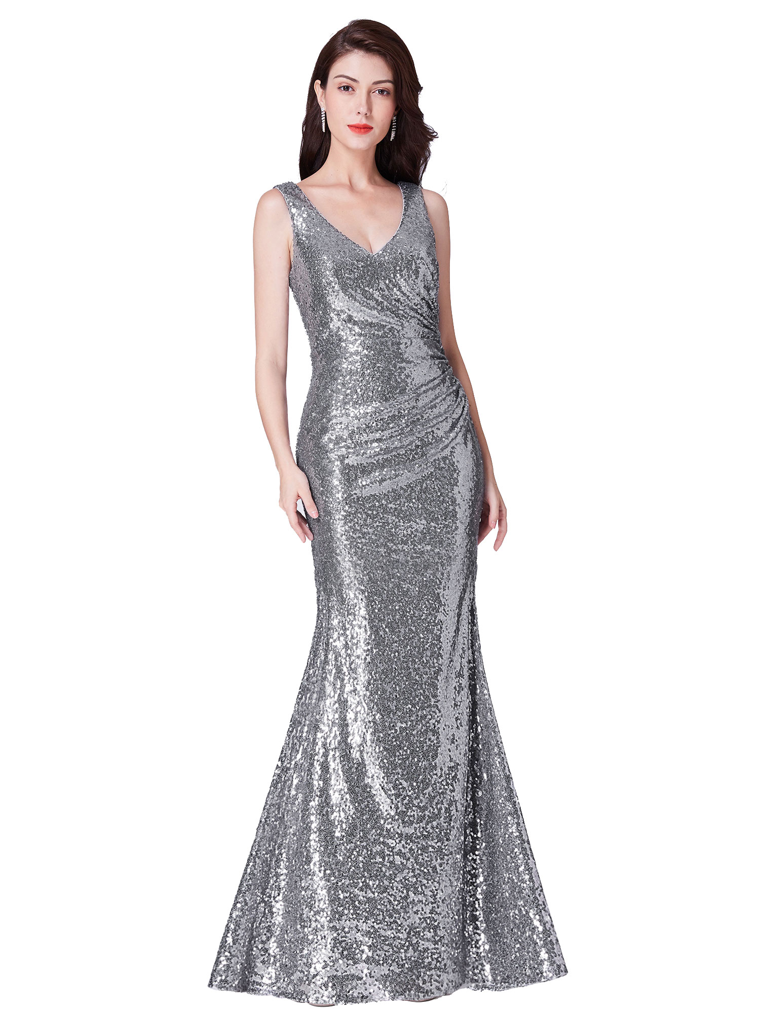 Ever-Pretty-Sequin-Sexy-V-Neck-Long-Formal-Wedding-Dresses-Prom-Ball-Gowns-07405 thumbnail 8