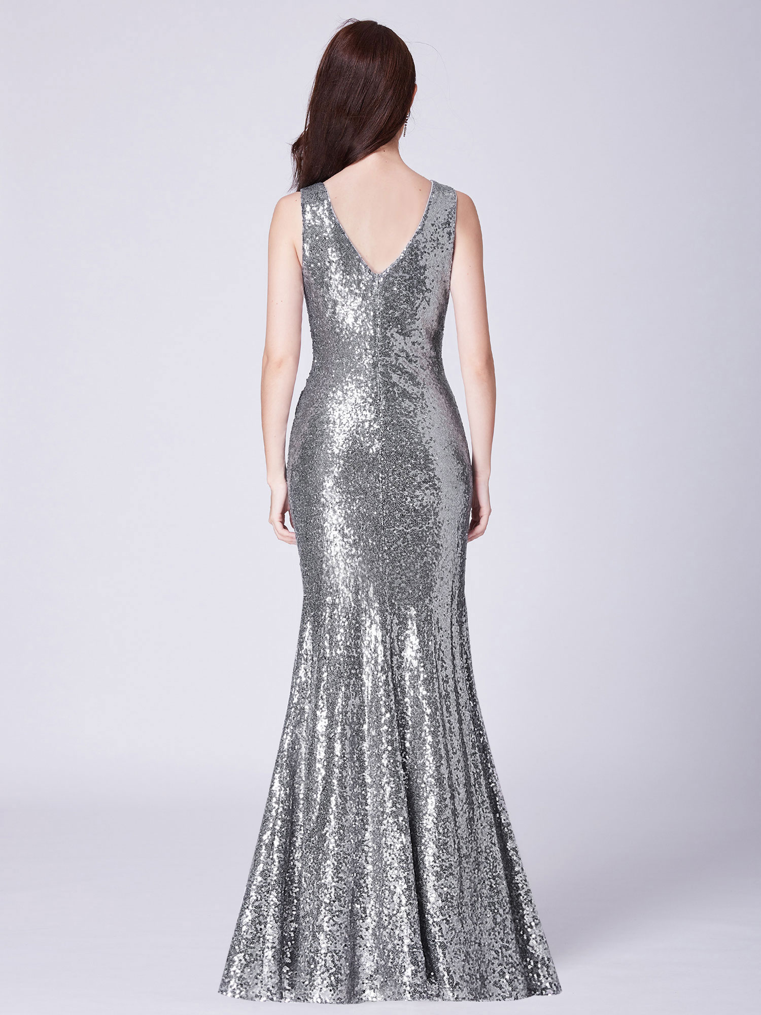 Ever-Pretty-Sequin-Sexy-V-Neck-Long-Formal-Wedding-Dresses-Prom-Ball-Gowns-07405 thumbnail 9