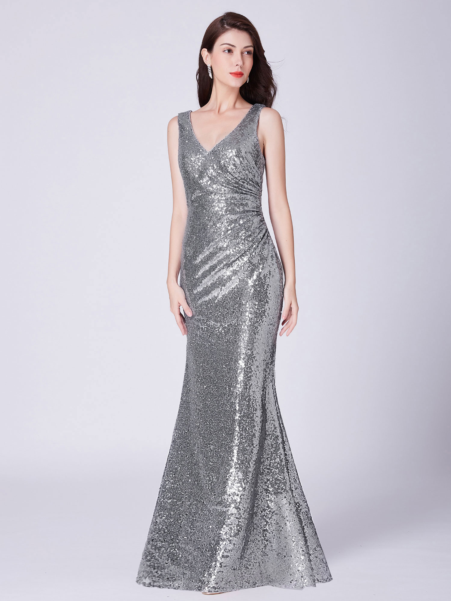 Ever-Pretty-Sequin-Sexy-V-Neck-Long-Formal-Wedding-Dresses-Prom-Ball-Gowns-07405 thumbnail 10