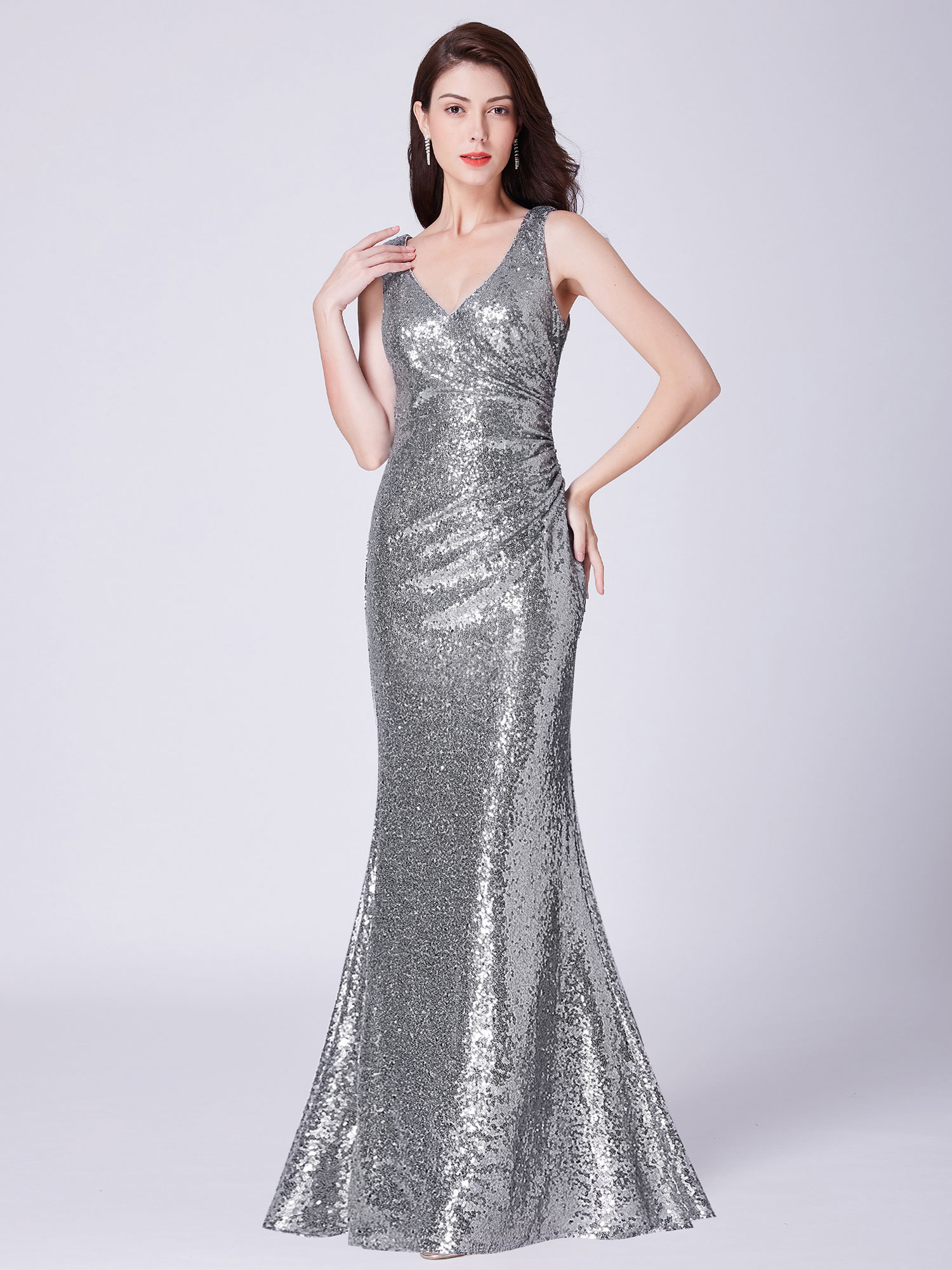 Ever-Pretty-Sequin-Sexy-V-Neck-Long-Formal-Wedding-Dresses-Prom-Ball-Gowns-07405 thumbnail 11