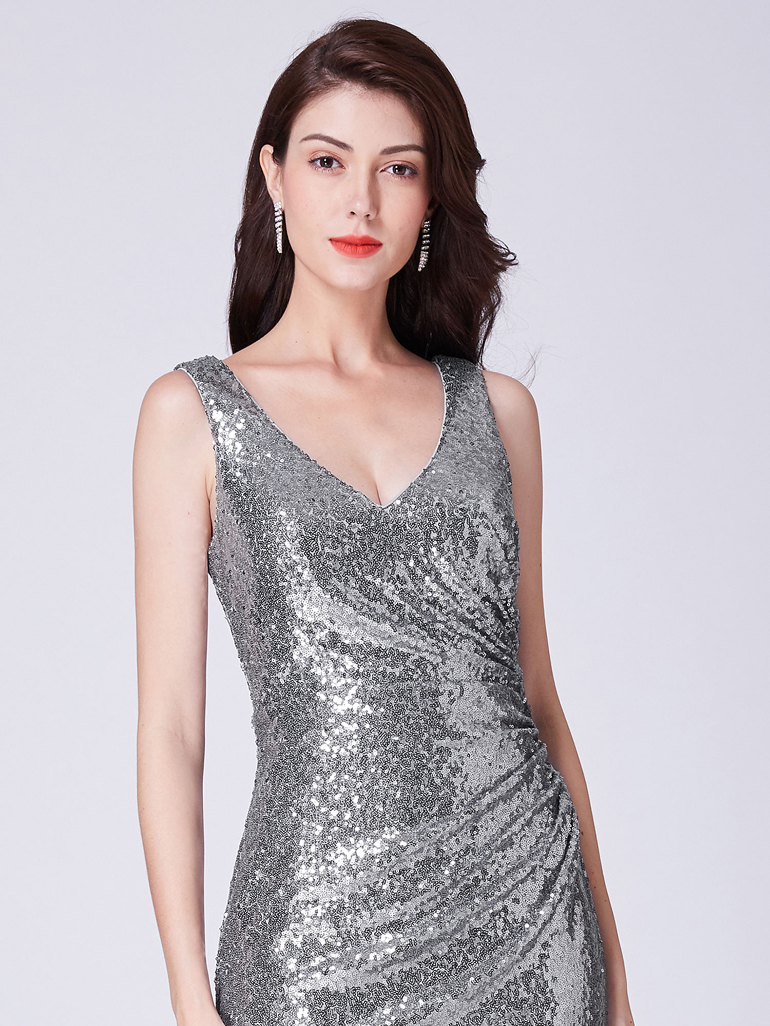 Ever-Pretty-Sequin-Sexy-V-Neck-Long-Formal-Wedding-Dresses-Prom-Ball-Gowns-07405 thumbnail 12