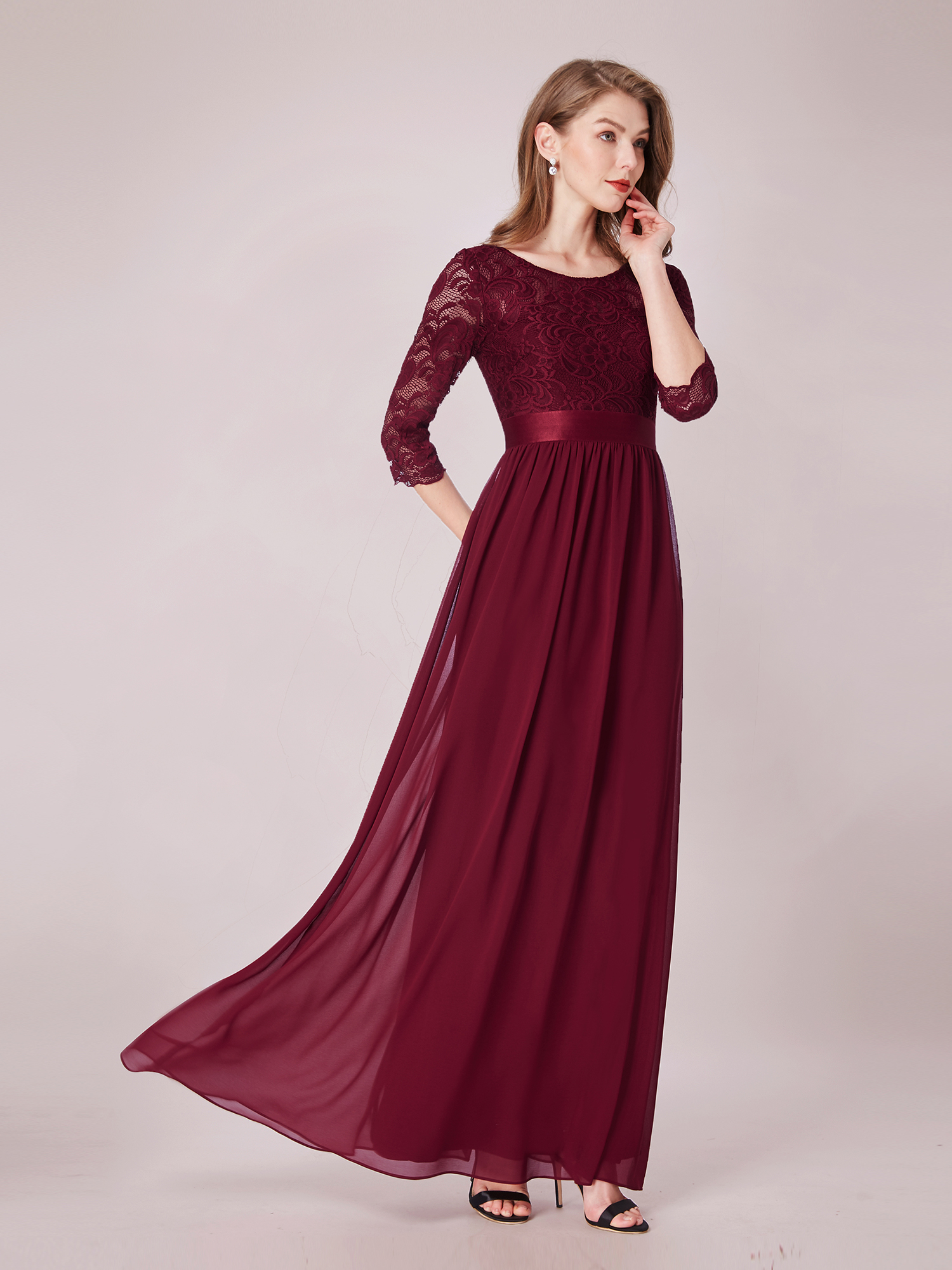 Ever-pretty Long Burgundy 3/4 Sleeve Lace Formal Gown Evening ...