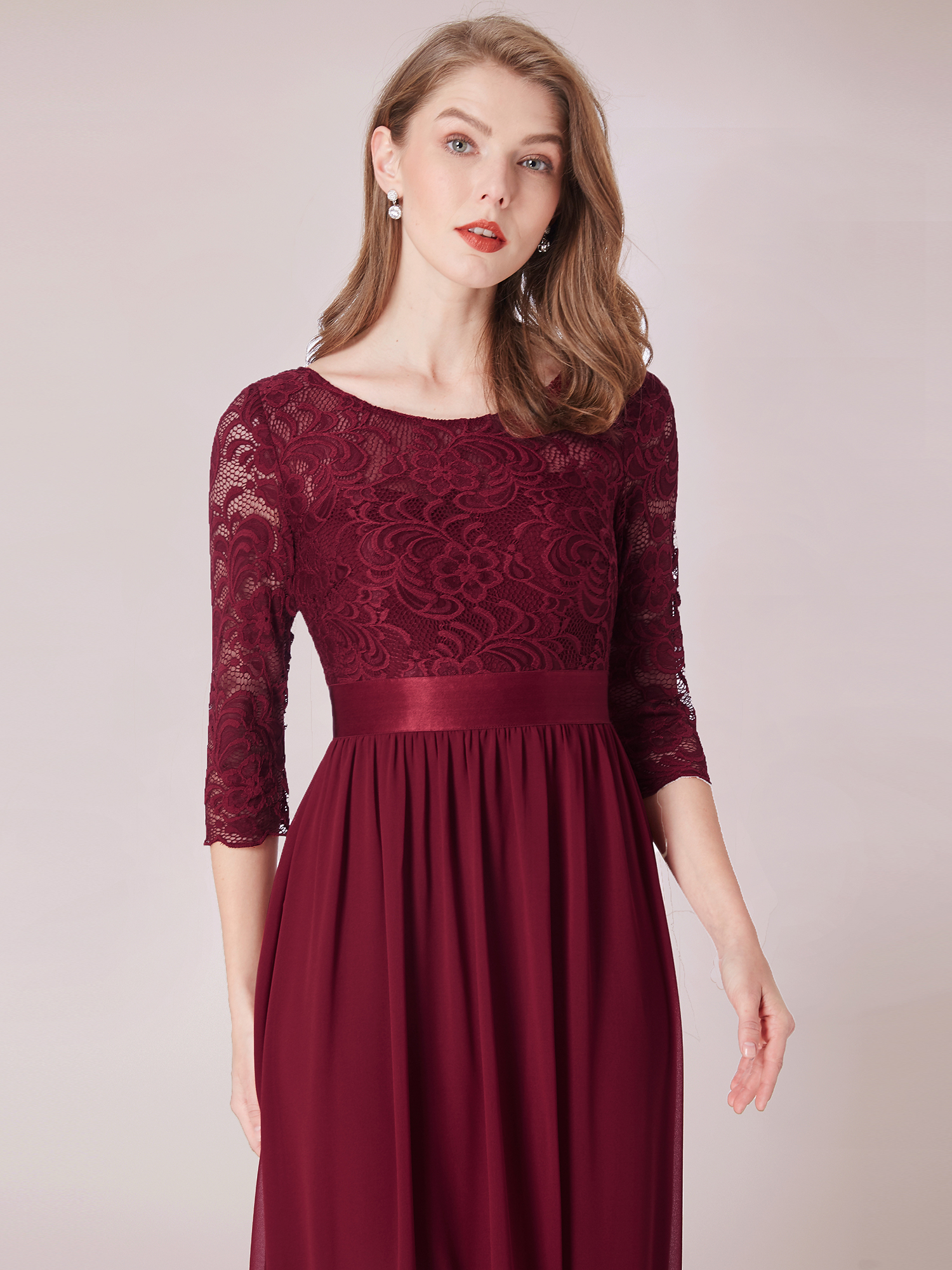 Ever-pretty Long Burgundy 3//4 Sleeve Lace Formal Gown Evening Dresses 07412