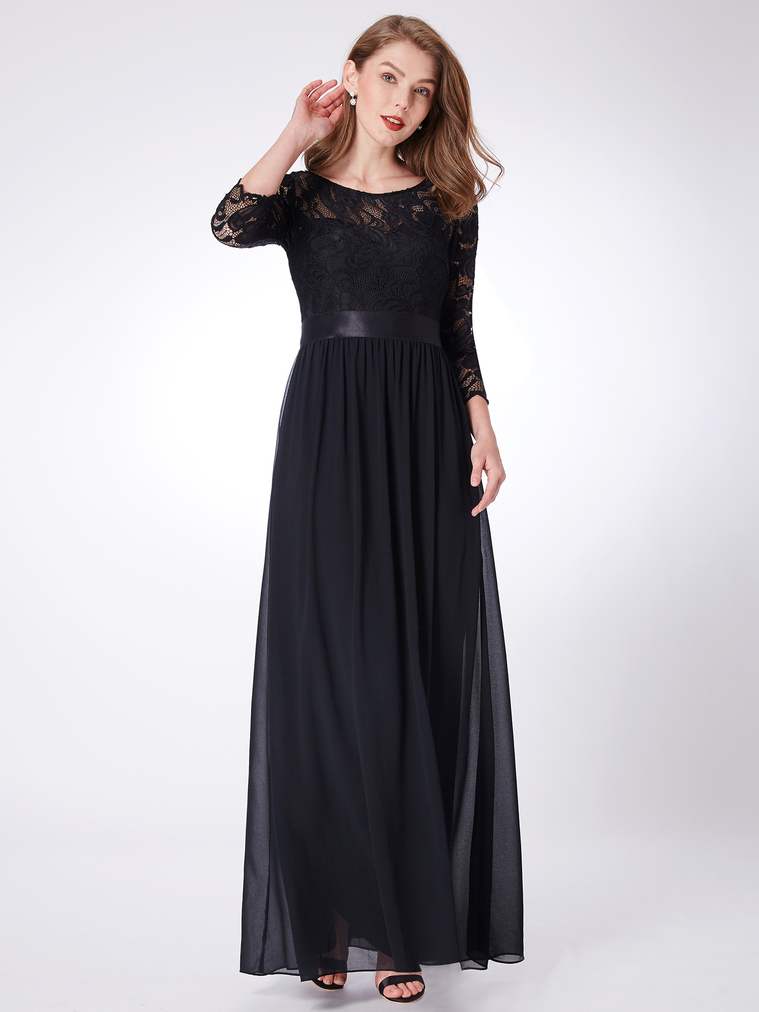 Ever-Pretty New US Black Long Evening Dress 3/4 Sleeve Evening Party ...