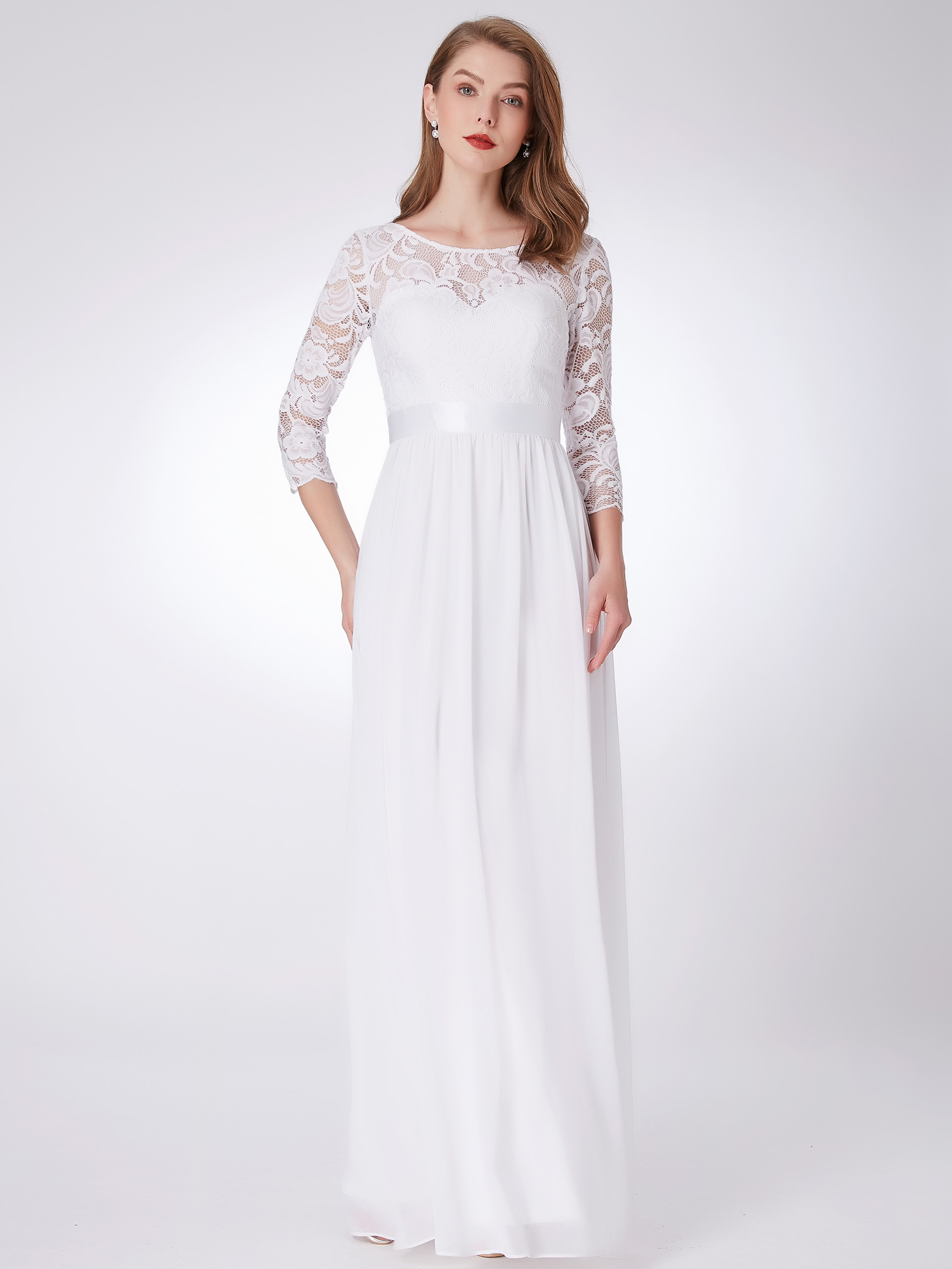 Long Lace Wedding Bridesmaid Pageant Evening Dresses 07412 White ...