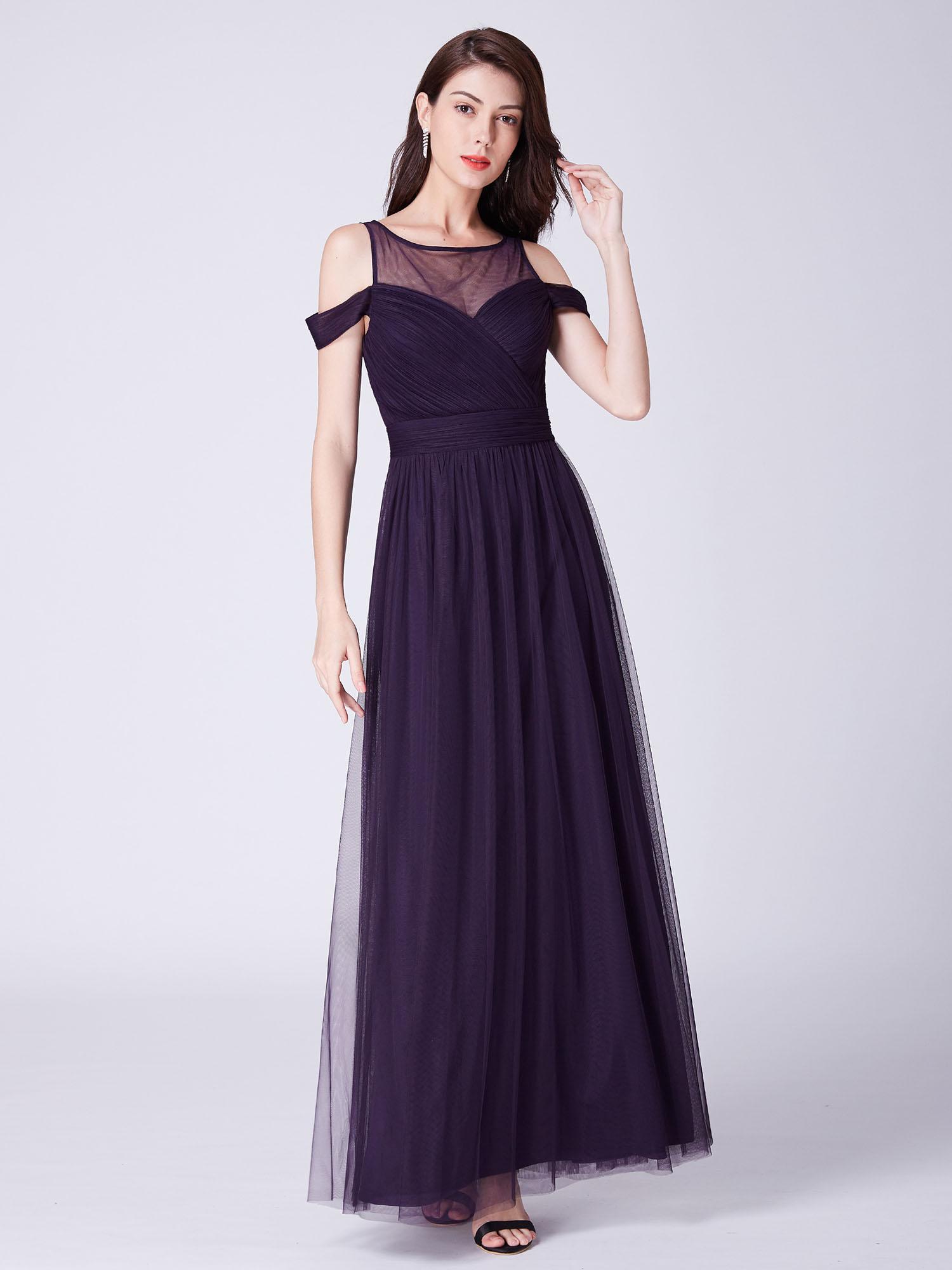 3d86e97d2ea Ever-Pretty Cold Shoulder A-line Bridesmaid Dresses Long Evening ...
