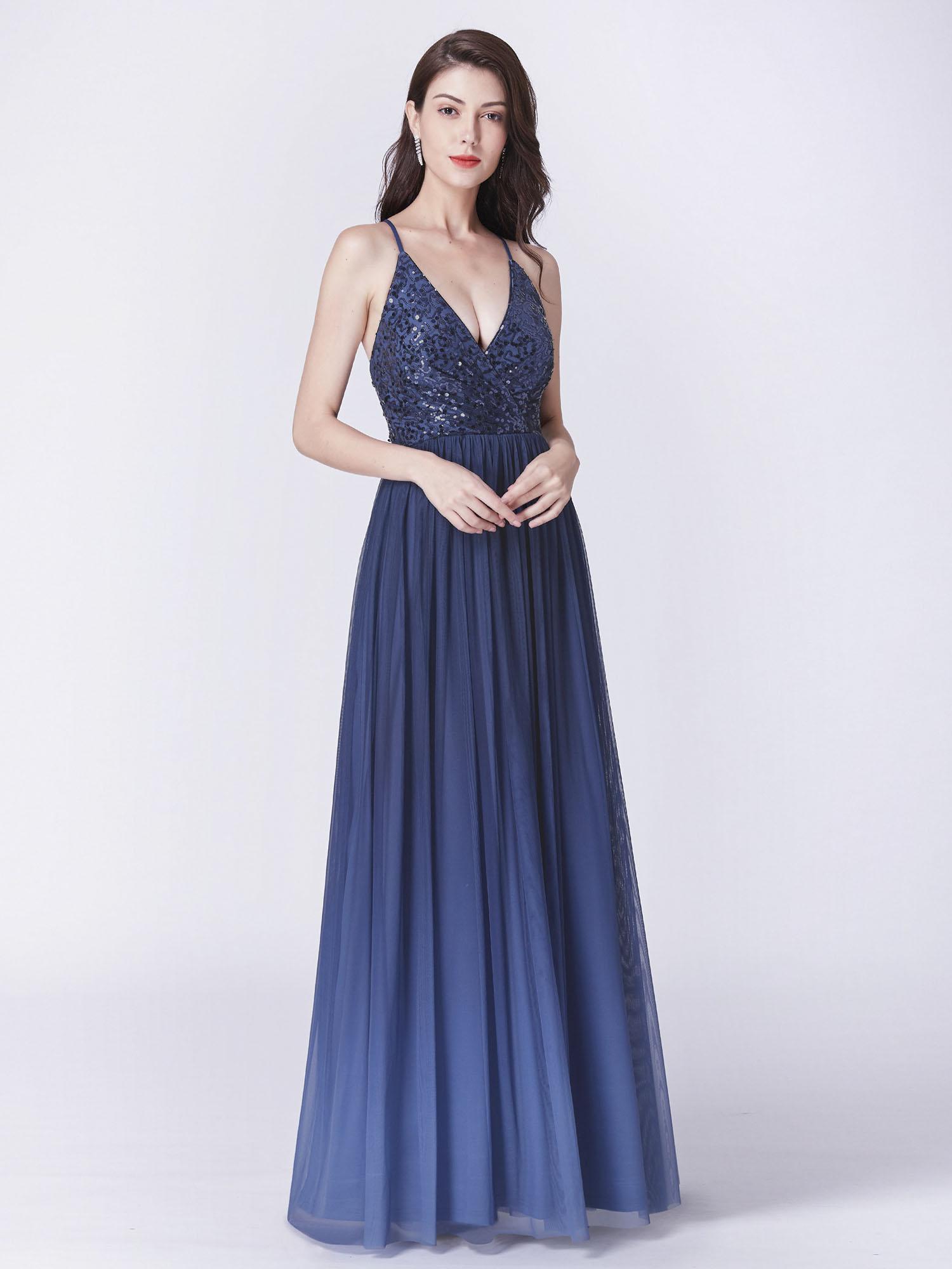 4a38d403e9a Ever-Pretty V-Neck A-Line Long Evening Prom Navy Blue Sequin ...