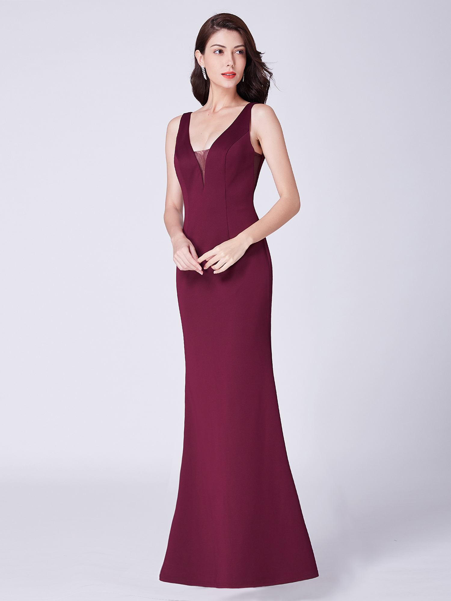Ever-pretty Long Lace Burgundy Evening Party Dresses Cocktail Prom Gowns 07695