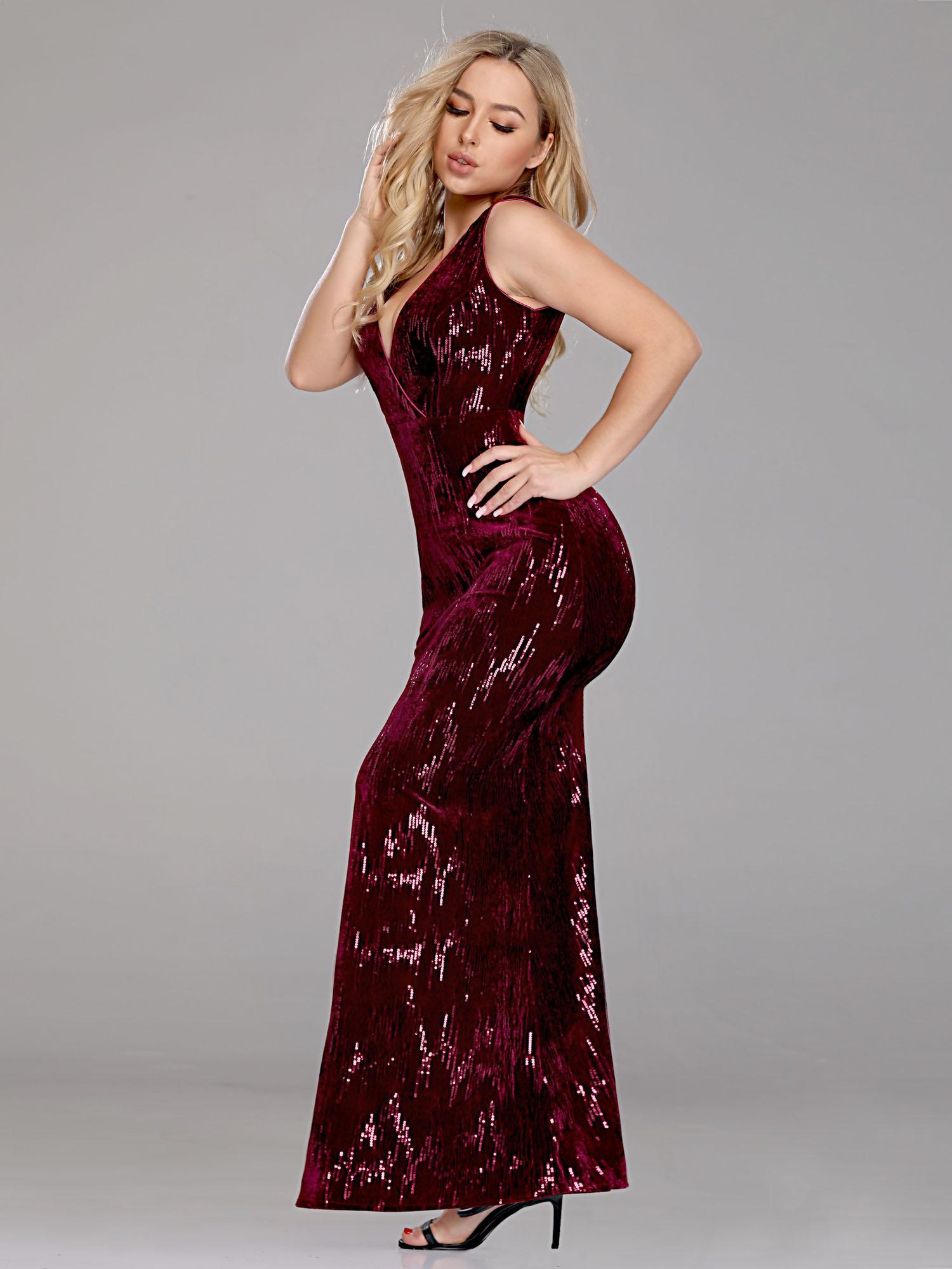 ever pretty v neck christmas dresses long burgundy - Long Christmas Dresses
