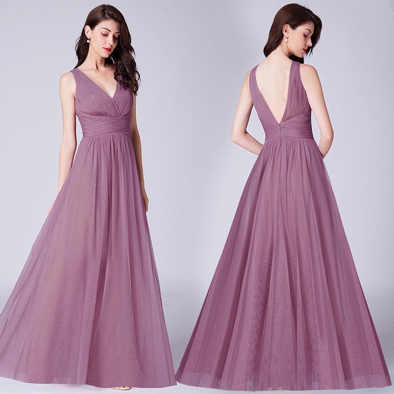 97797e118c Ever-Pretty Women's V Neck Long Maxi Bridesmaid Wedding Party Evening  Dresses 07526
