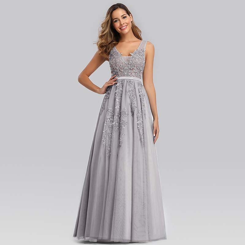 Ever-Pretty US Mesh A-Line Cocktail Dress Long Floral Embroidery Holiday Gowns