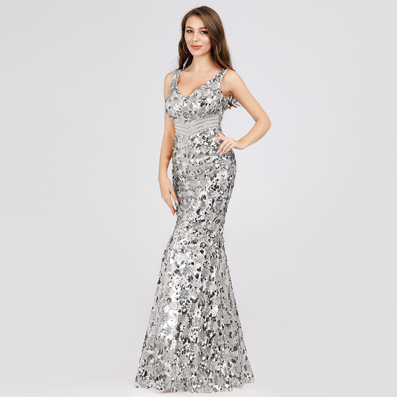 Ever-Pretty US Sequins V-neck Long Evening Prom Dress Bodycon Cocktail Ball Gown