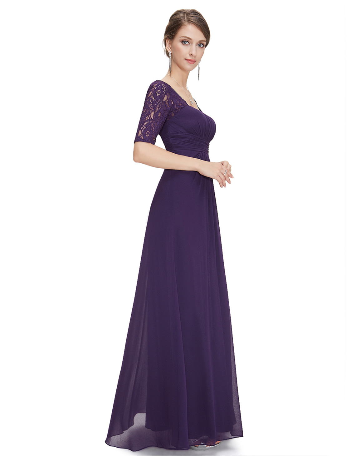 US Long Chiffon Formal Gown Half Sleeves Evening Prom Dresses 8038 ...