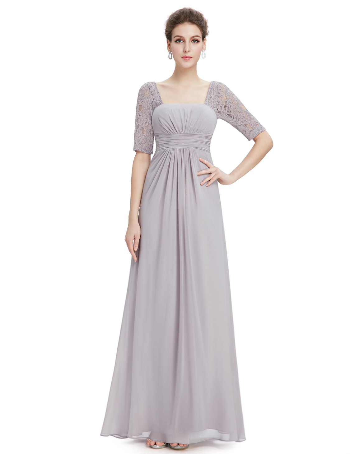 4254cdd3ca UK Ever-Pretty Gray Long Bridesmaid Dresses Lace Party Evening ...