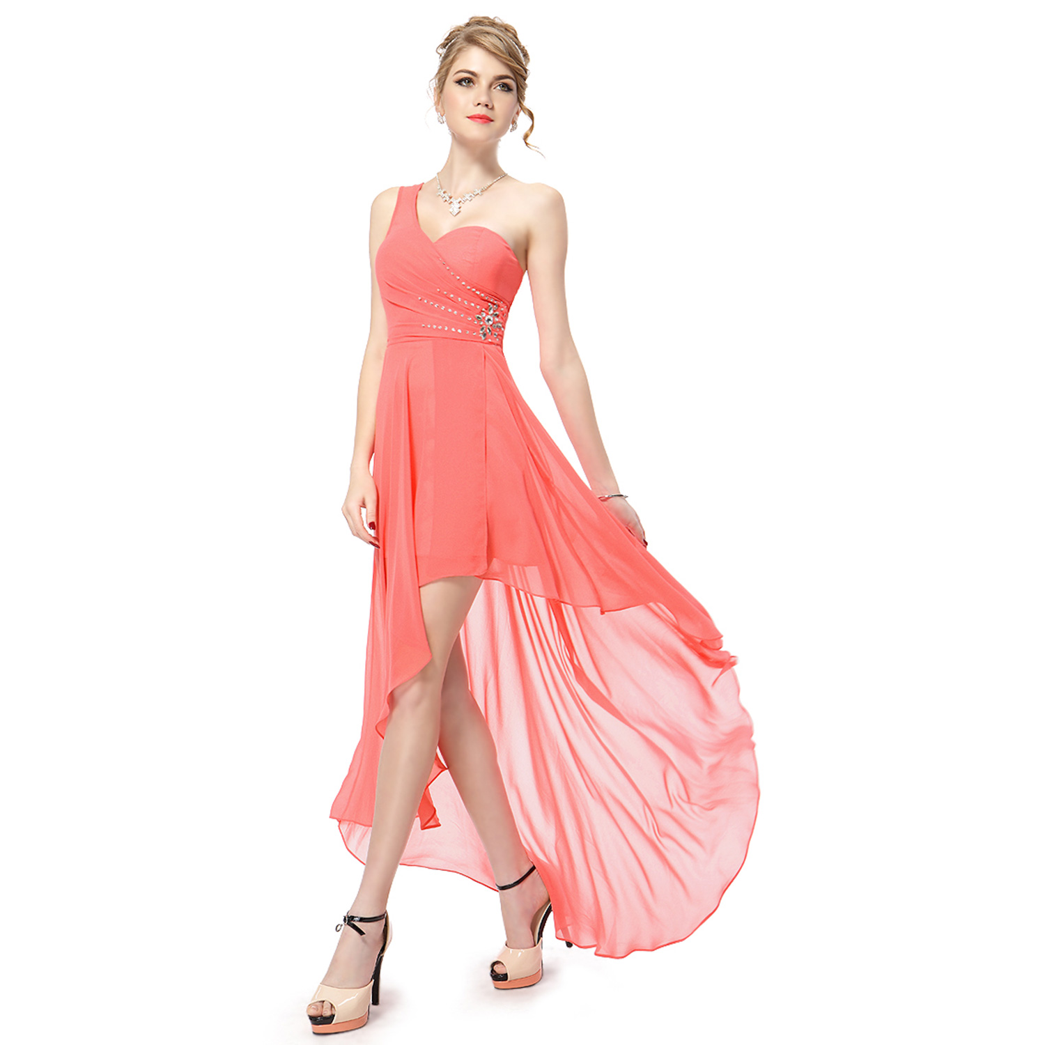 Ever-Pretty One Shoulder Bridesmaid Gown High-Low Cocktail Party ...