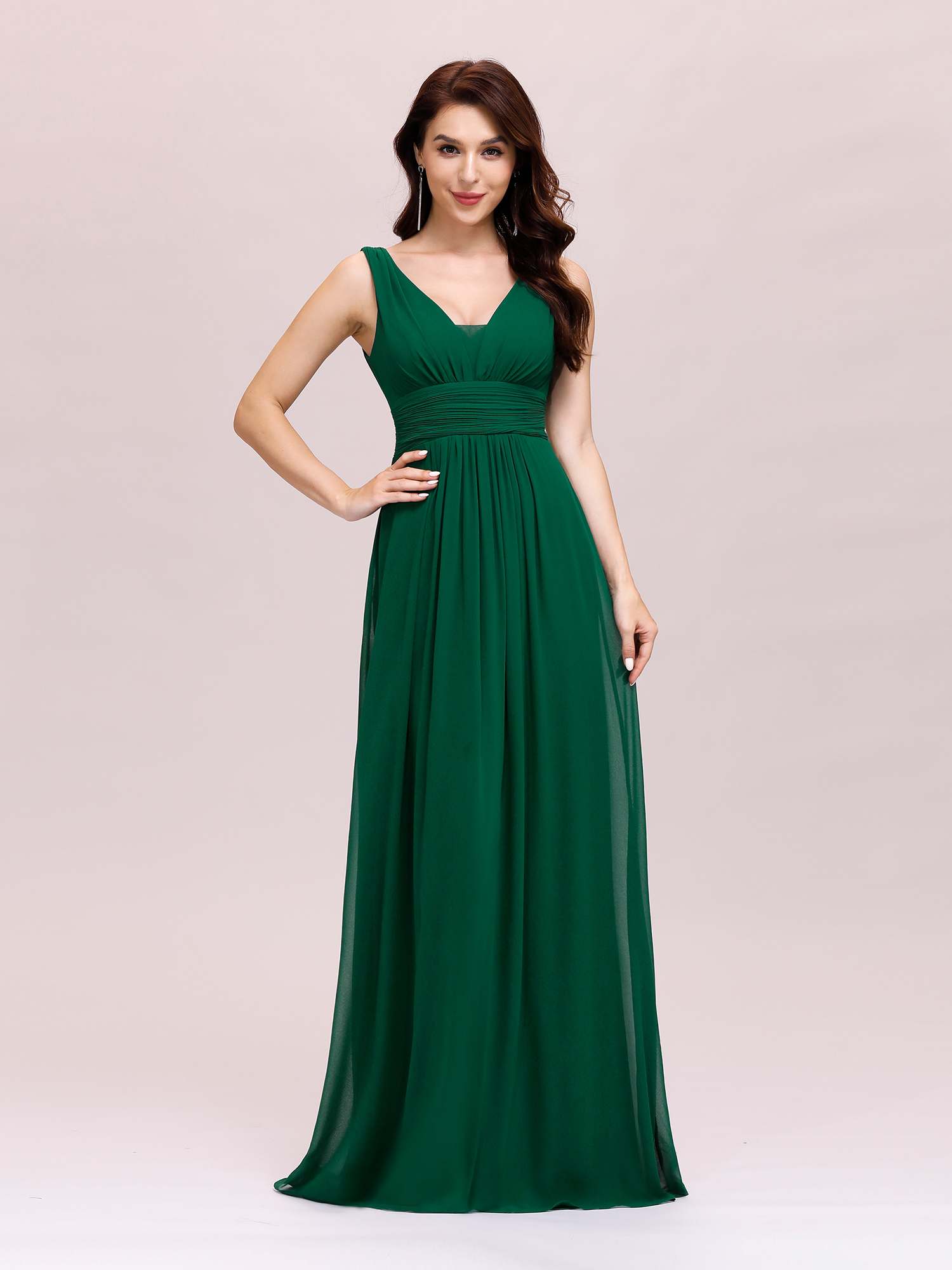 Long Sexy Bridesmaid Prom Dresses V-neck Formal Maxi ...