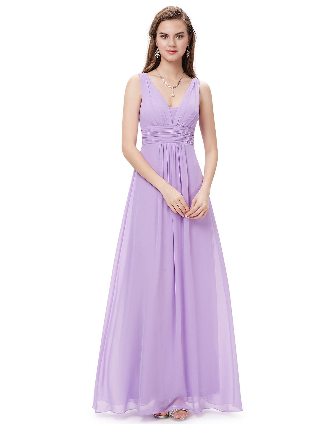 Ever-Pretty Long Bridesmaid Dresses Chiffon Formal Evening Gowns V ...