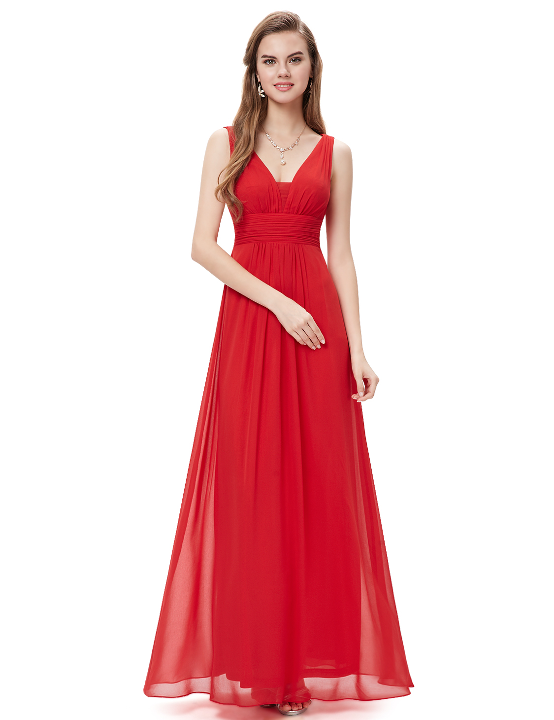 Every-pretty Hot Red Deep V-neck Bridesmaid Dresses Pleated Cocktail Gown 08110