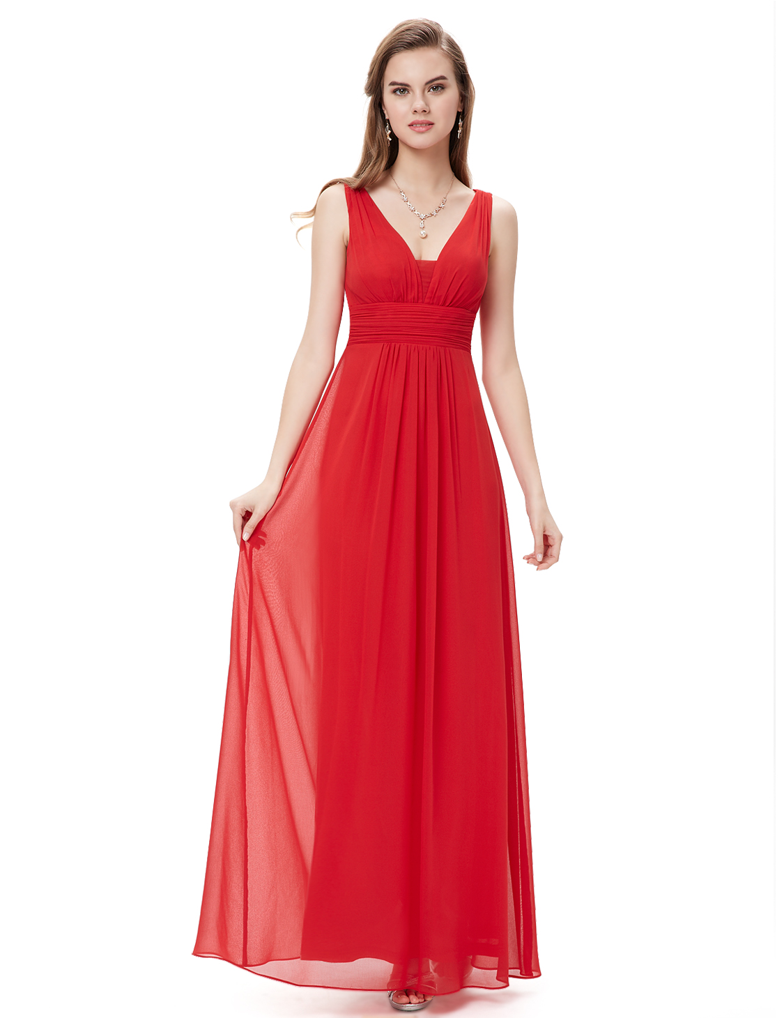 Ever-Pretty-US-Red-Long-Bridesmaid-Dresses-V-neck-Sleeveless-Evening-Gown-08110 thumbnail 11
