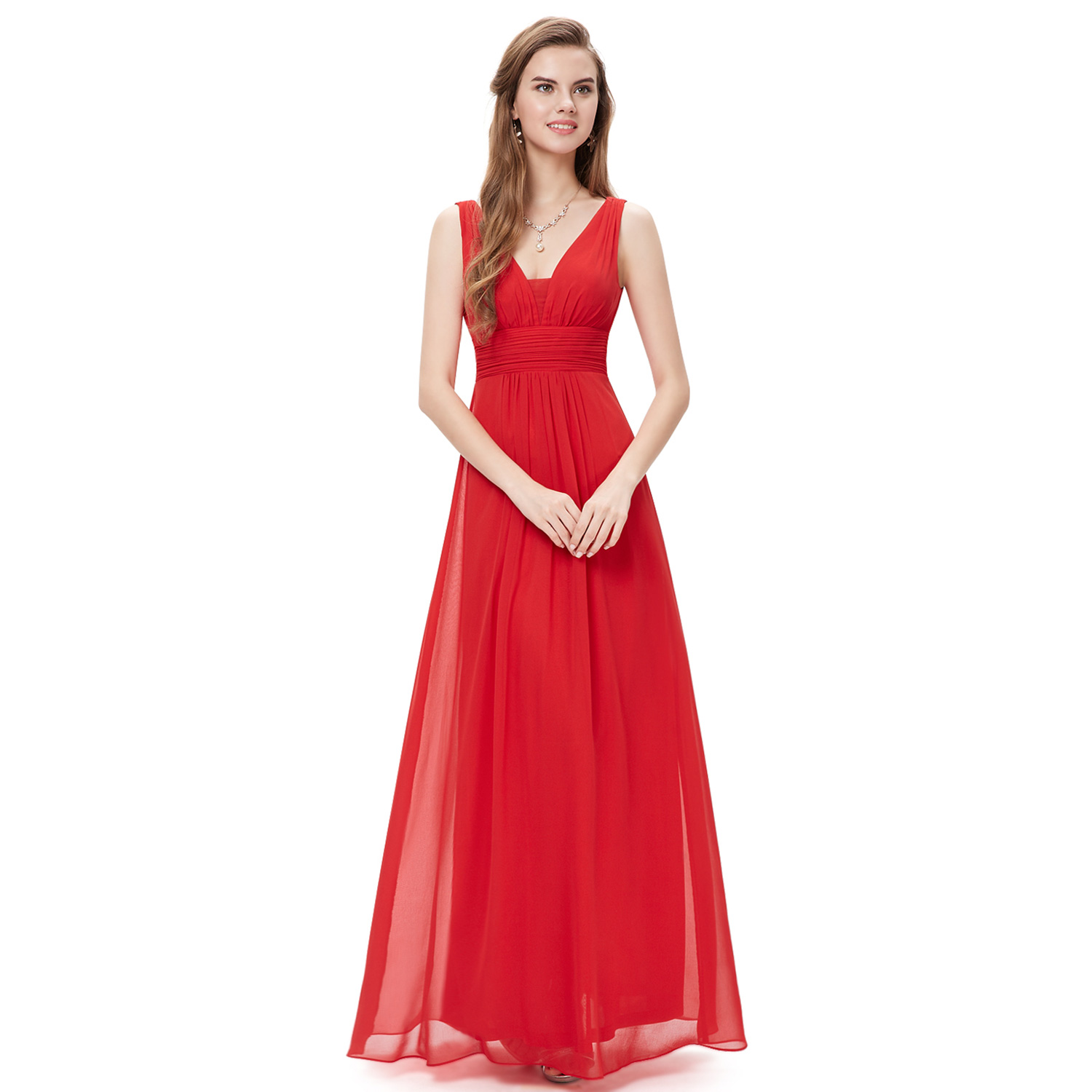 Ever-Pretty Long Bridesmaid Dresses Chiffon Formal Evening Gowns V ...