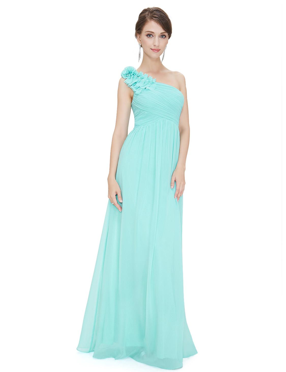 US Long One-Shoulder Bridesmaid Wedding Dresses Formal Evening ...