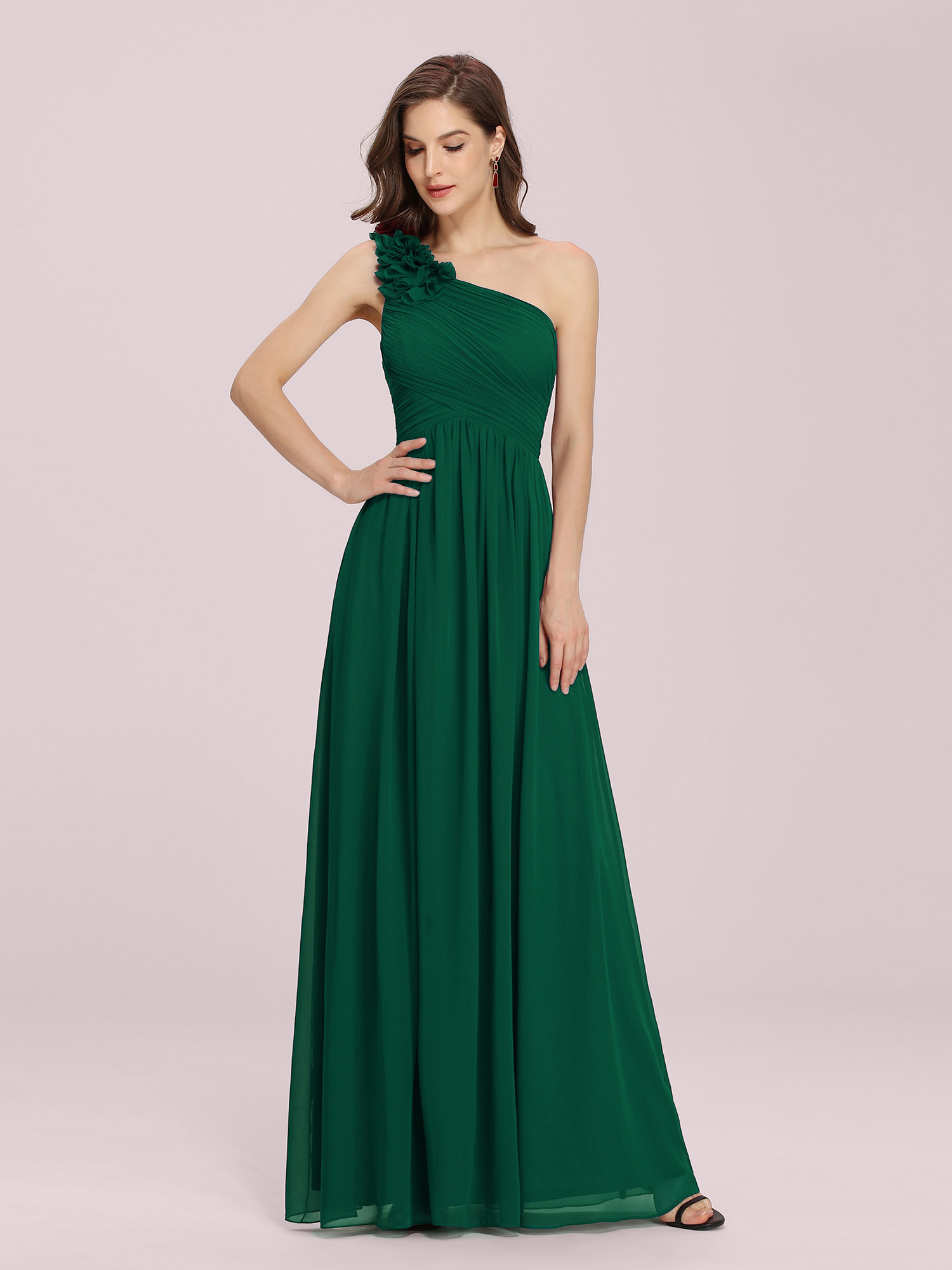 green dresses for wedding pretty one shoulder bridesmaid dresses applique 4609