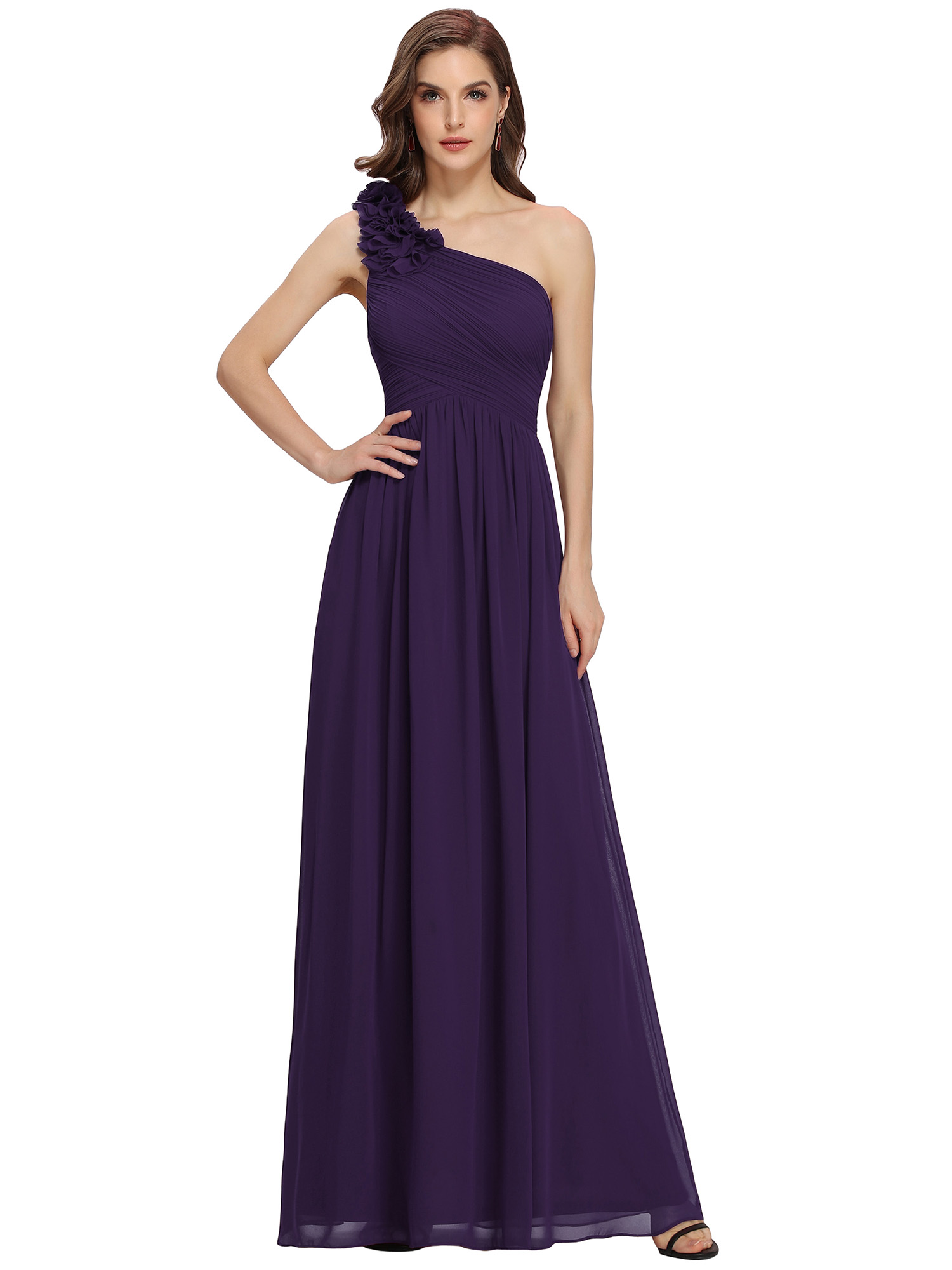 Ever-Pretty Dark Purple Dress One Shoulder Prom Party Ball Gown ...