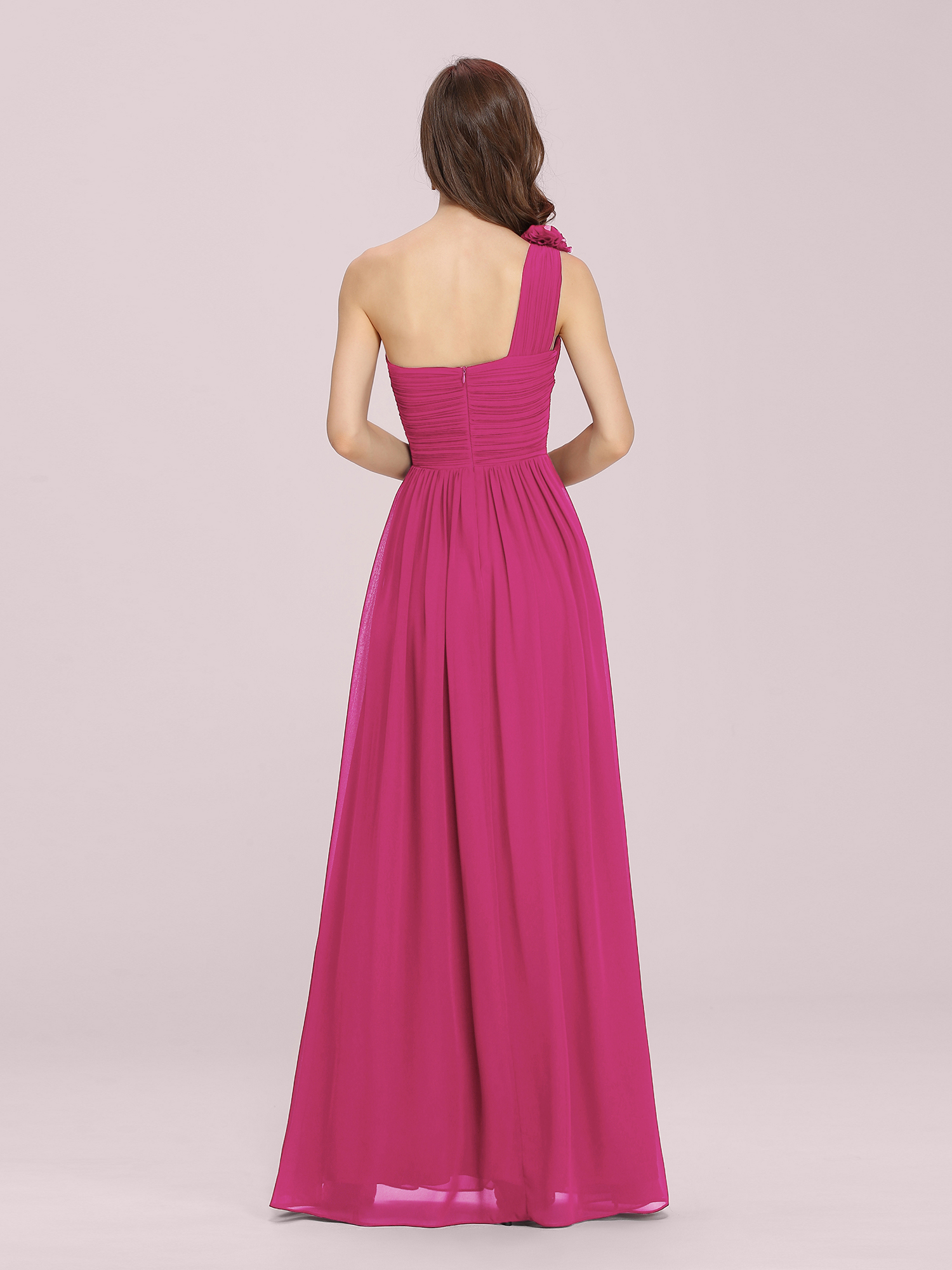Ever-Pretty Hot Pink Formal Evening Gowns One Shoulder Bridesmaid ...