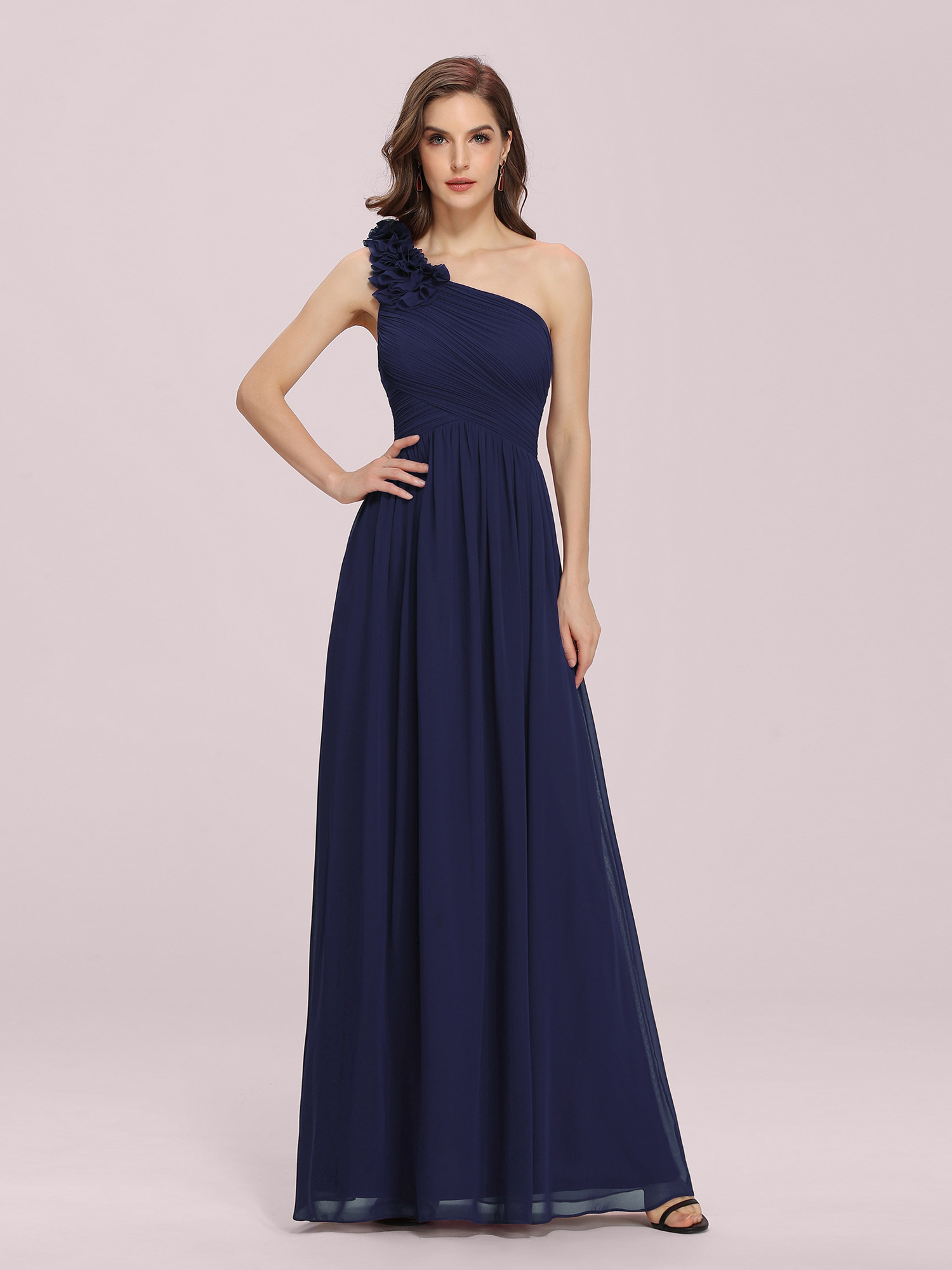 Ever-Pretty Navy Blue Dress One Shoulder Prom Party Ball Gown 08237 ...