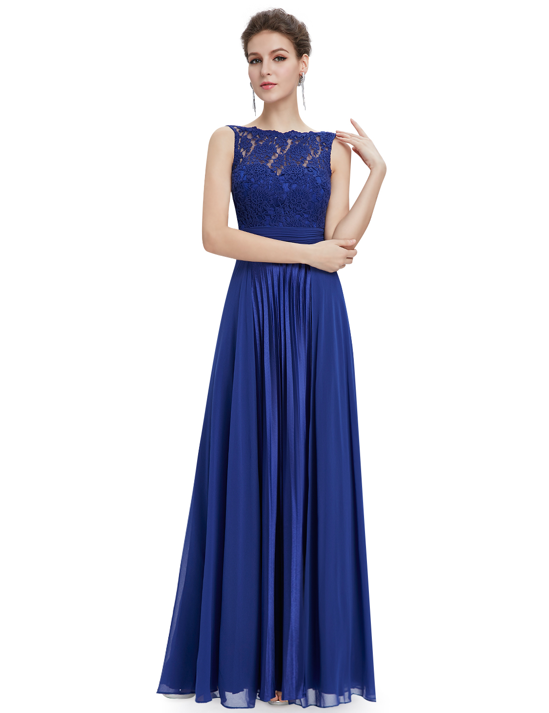 Ever-Pretty Lace Formal Evening Prom Dress Pleated Long ...