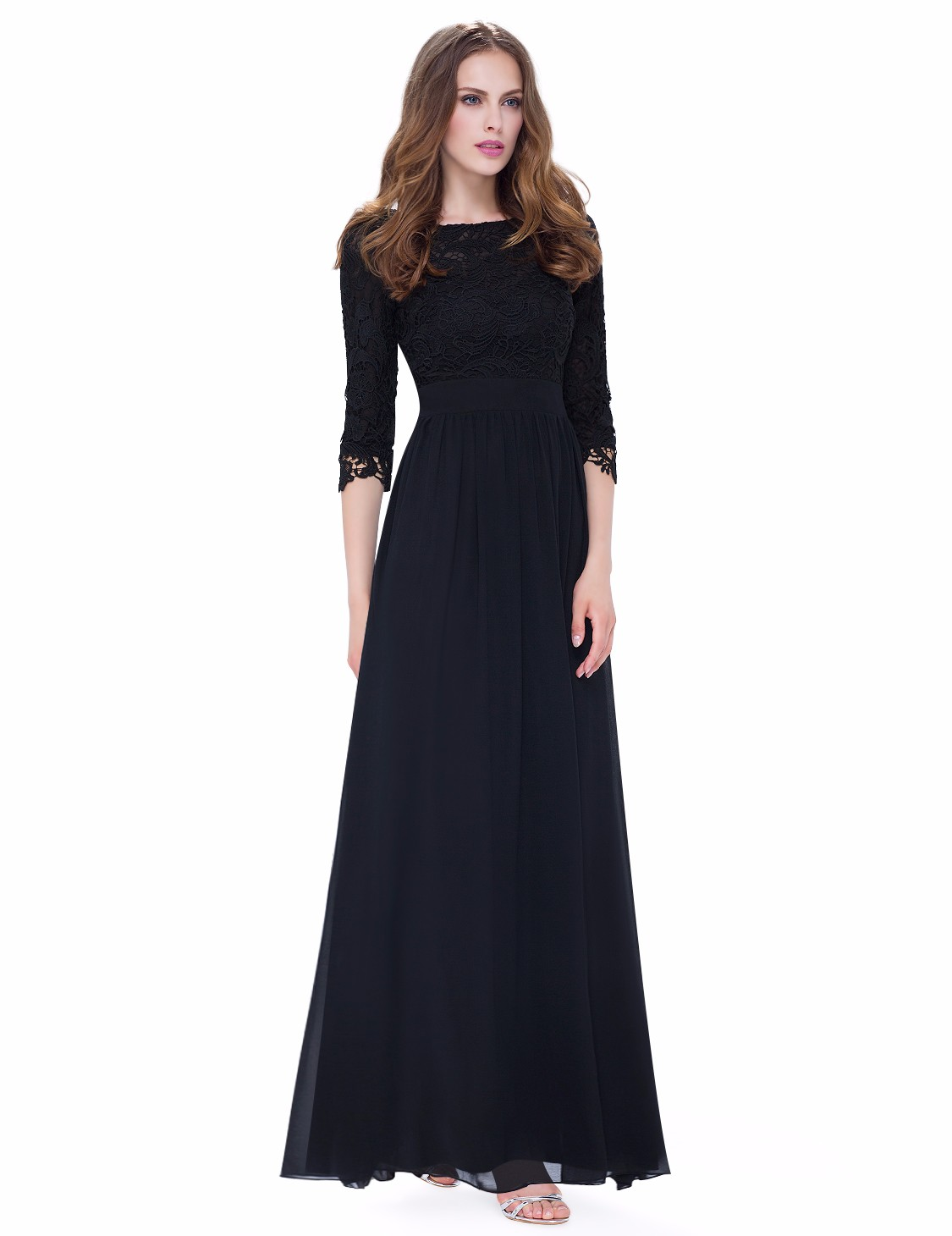 Ever-Pretty Long Lace Bridesmaid Dresses 3/4 Sleeve Black Evening ...