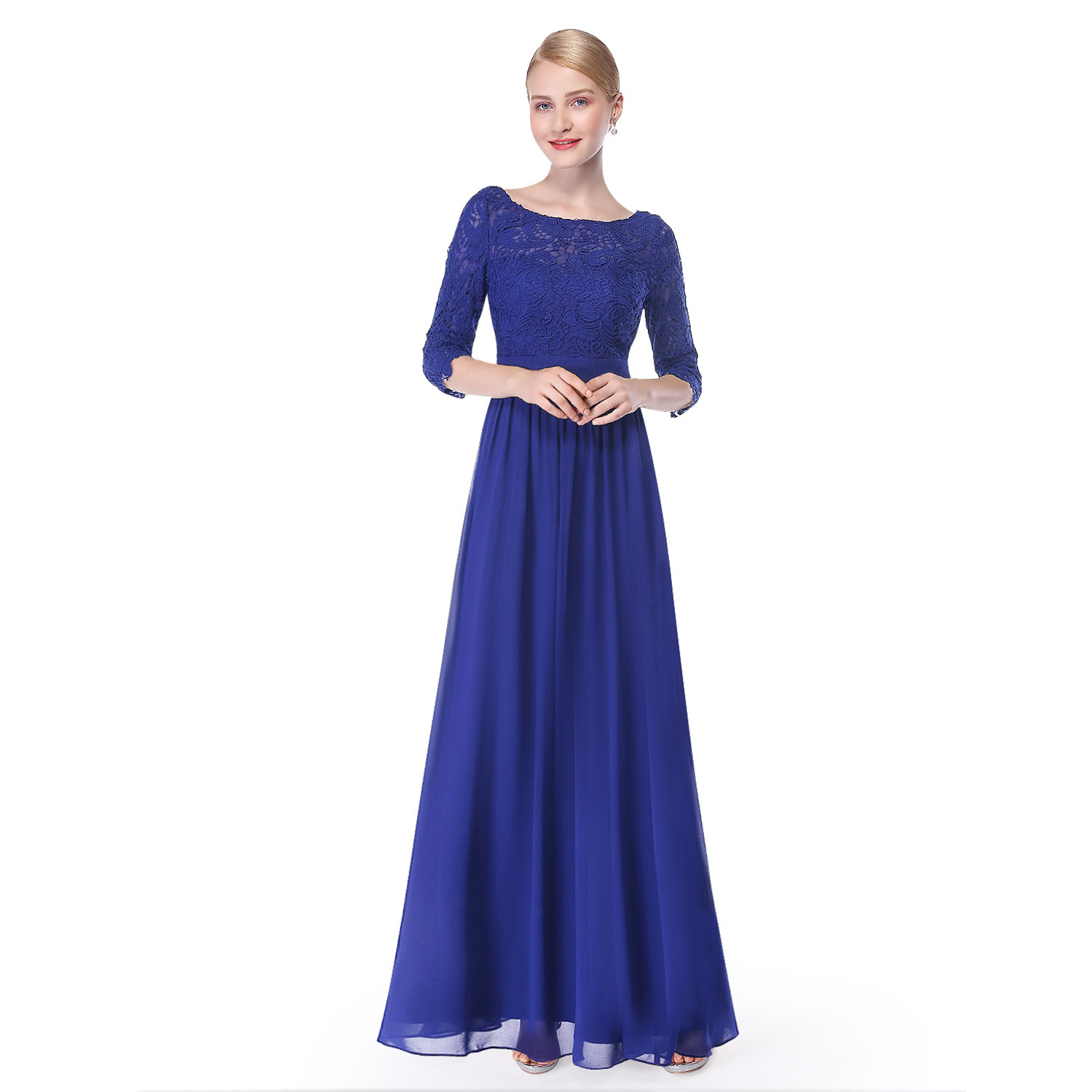 Ever Pretty Lace Formal Evening Gowns Half Sleeve Prom Party Maxi ...