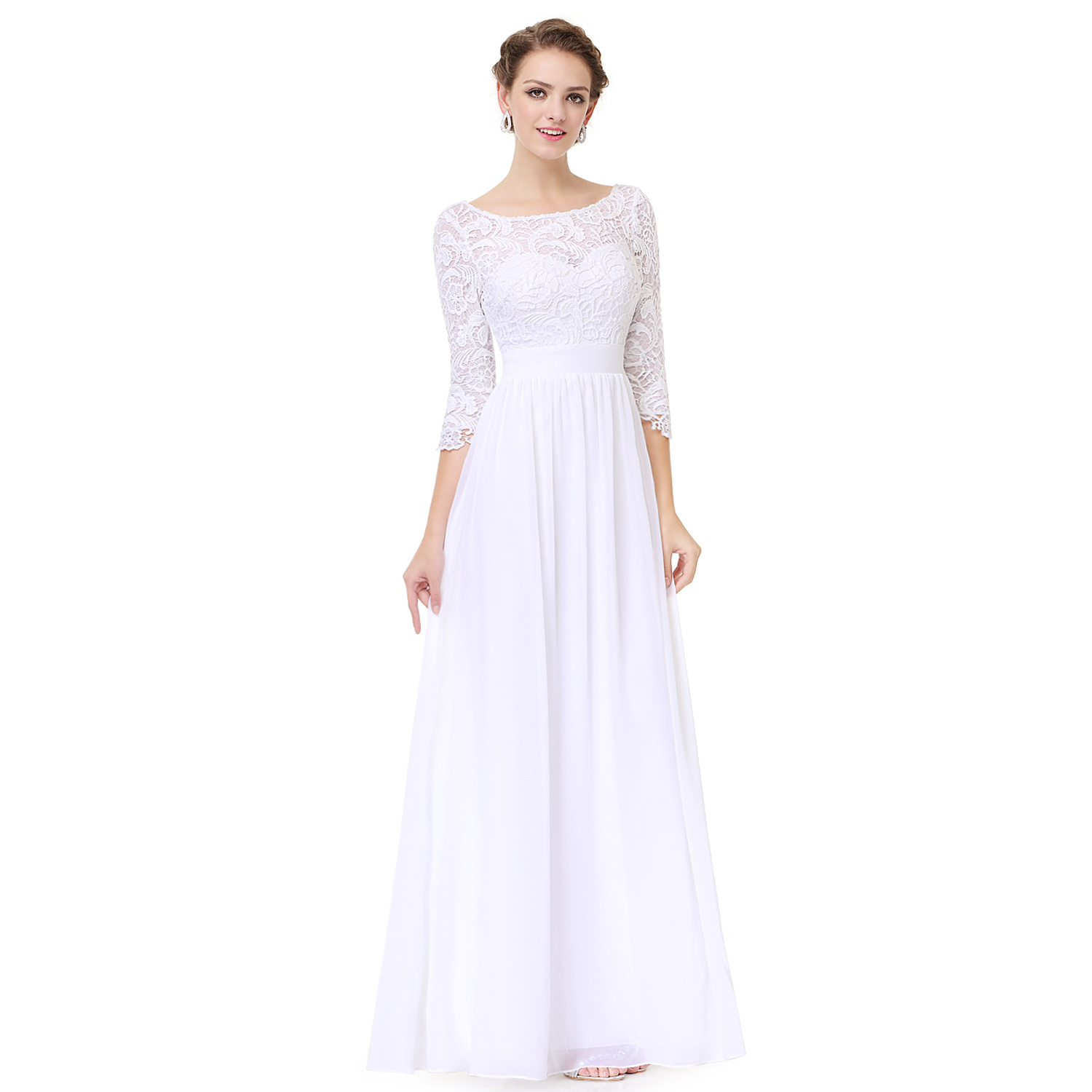 Ever pretty women wedding ball gown prom lace maxi evening for Lace maxi wedding dress