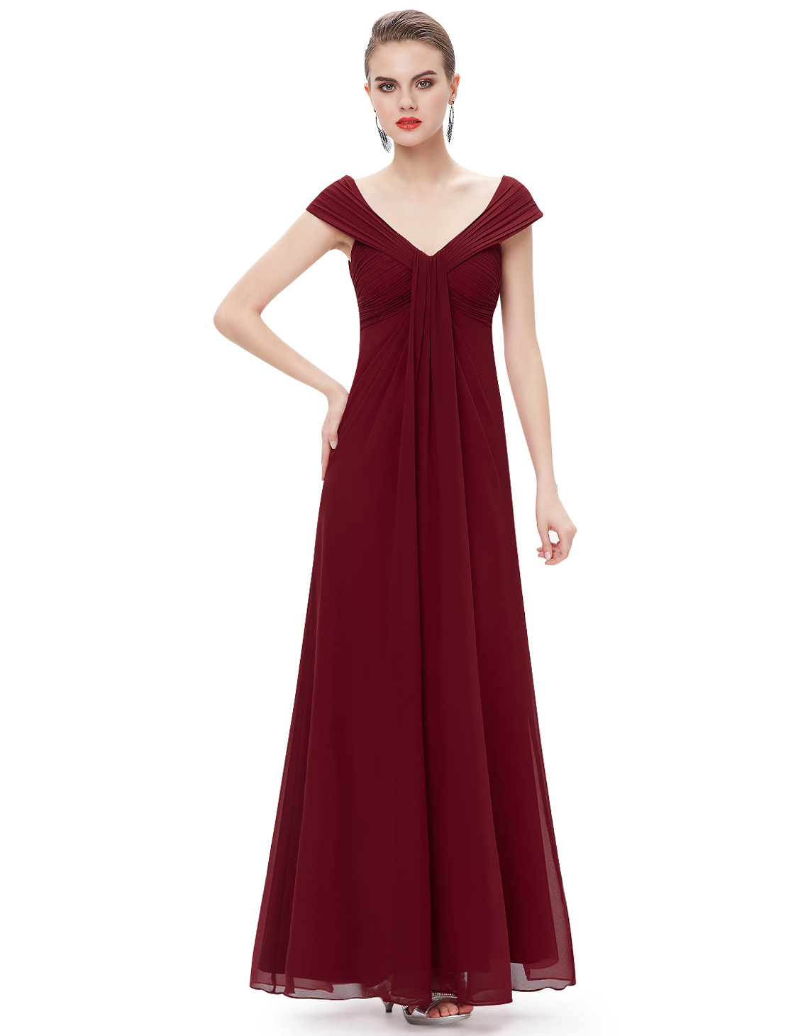 US Women Evening Formal Ball Gown Party Long Prom V Neck ...