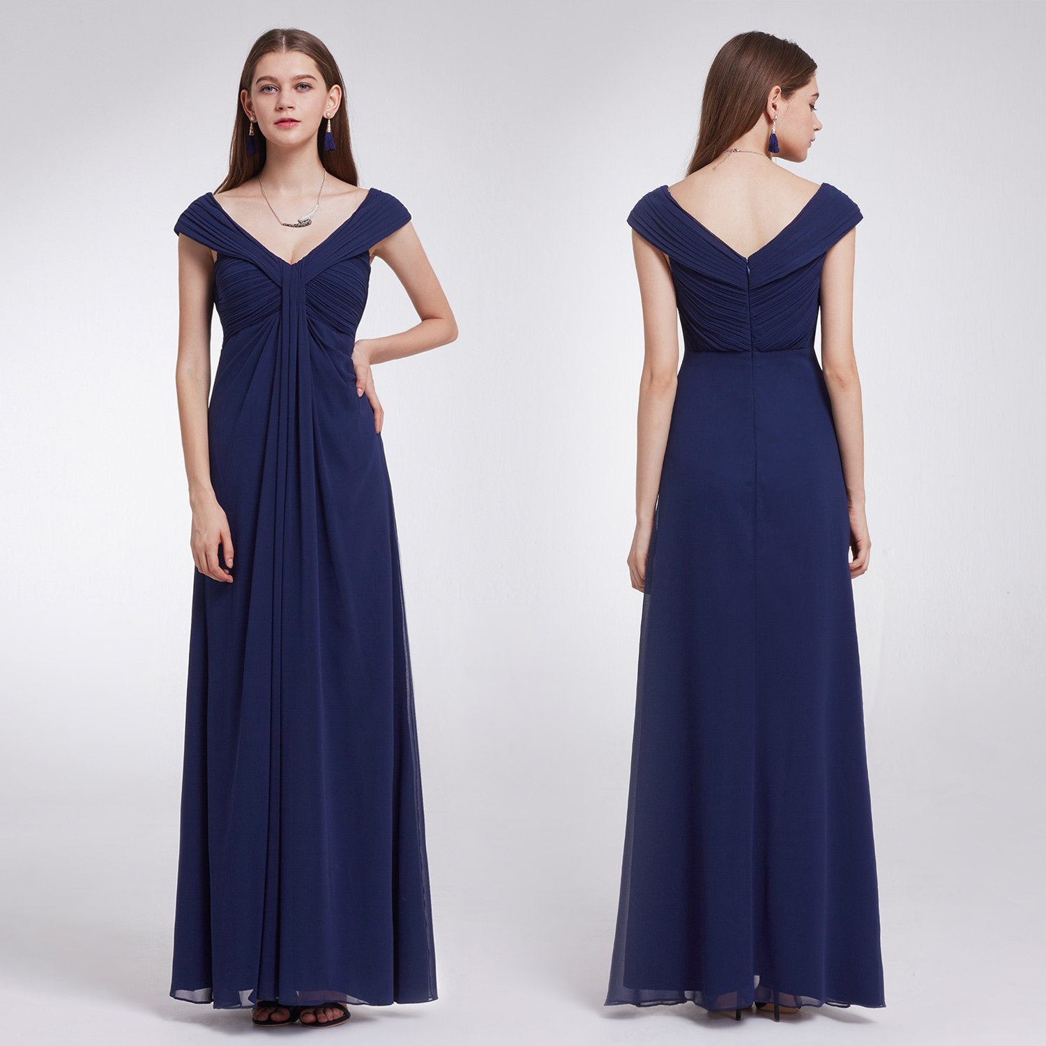 Ever-Pretty Long Double V-Neck Evening Gown Cap Sleeve Bridesmaid ...