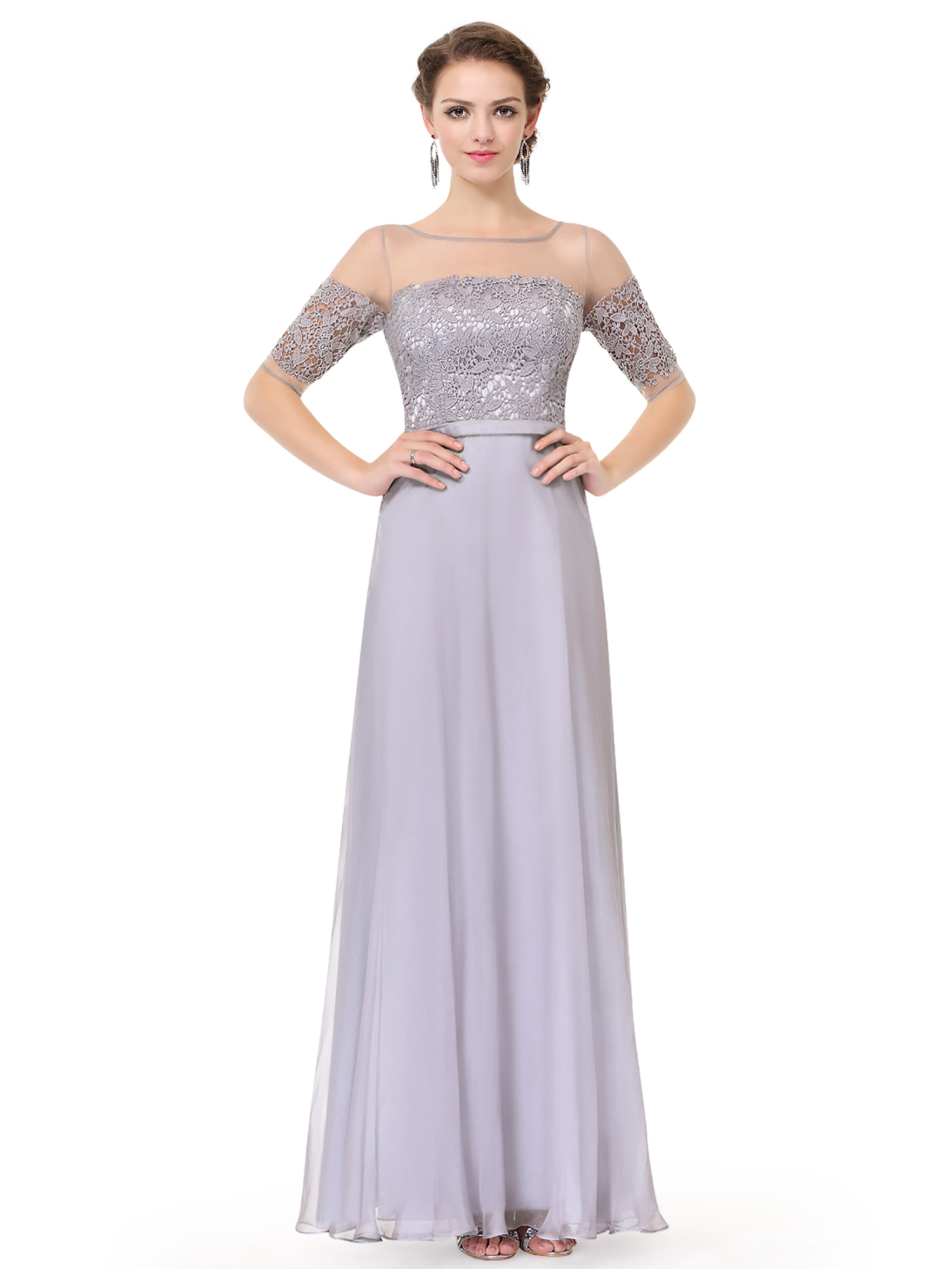 Ever-Pretty Women Evening Dress Bridesmaid Maxi Half Sleeve Formal ...