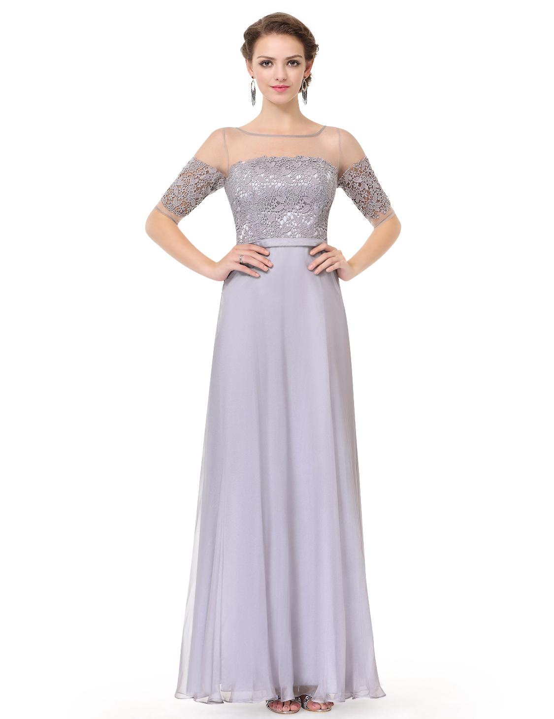 Ever-Pretty Half Sleeve Bridesmaid Gown Elegant Long Mother Of Bride ...