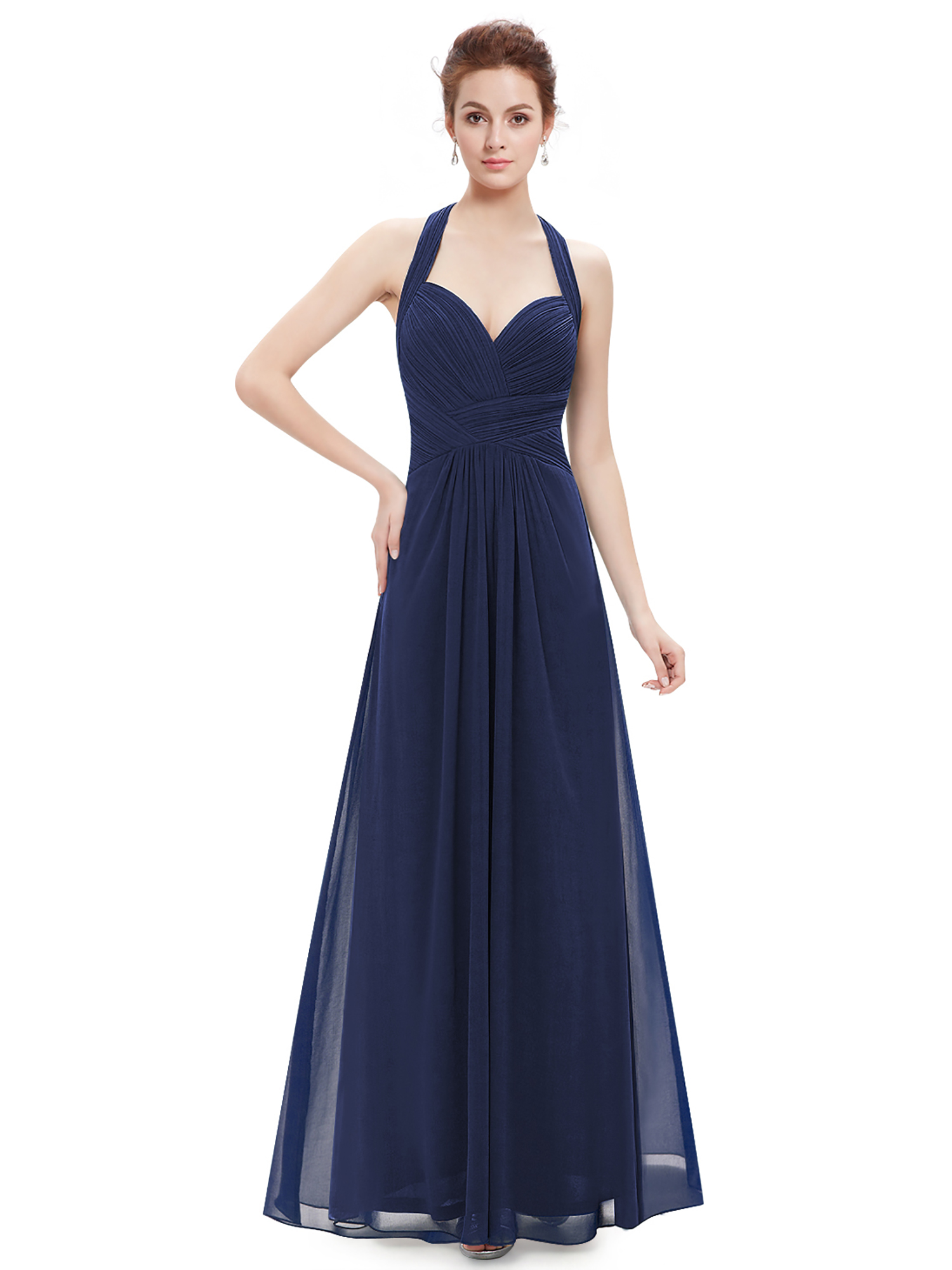Women 39 s maxi halter bridesmaid dress evening wedding prom for Dresses for afternoon wedding
