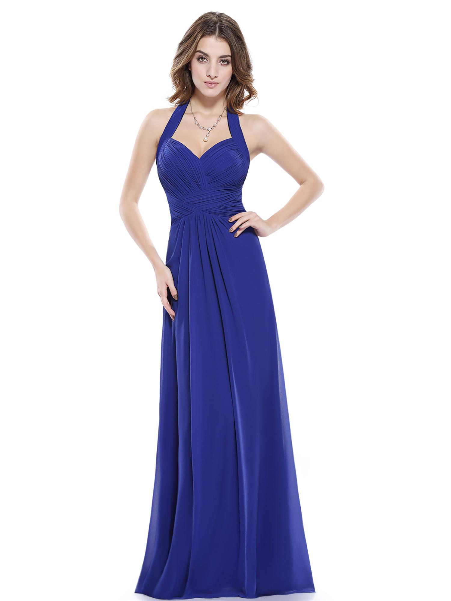 Women 39 s maxi halter bridesmaid dress evening wedding prom for Long maxi dresses for weddings