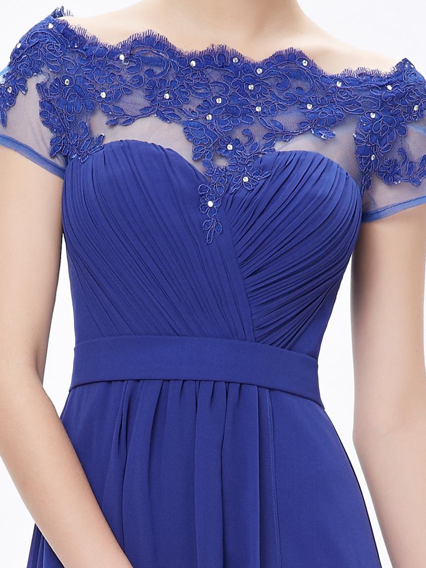 Ever-pretty UK Long Prom Evening Short Sleeve Applique Bridesmaid ...