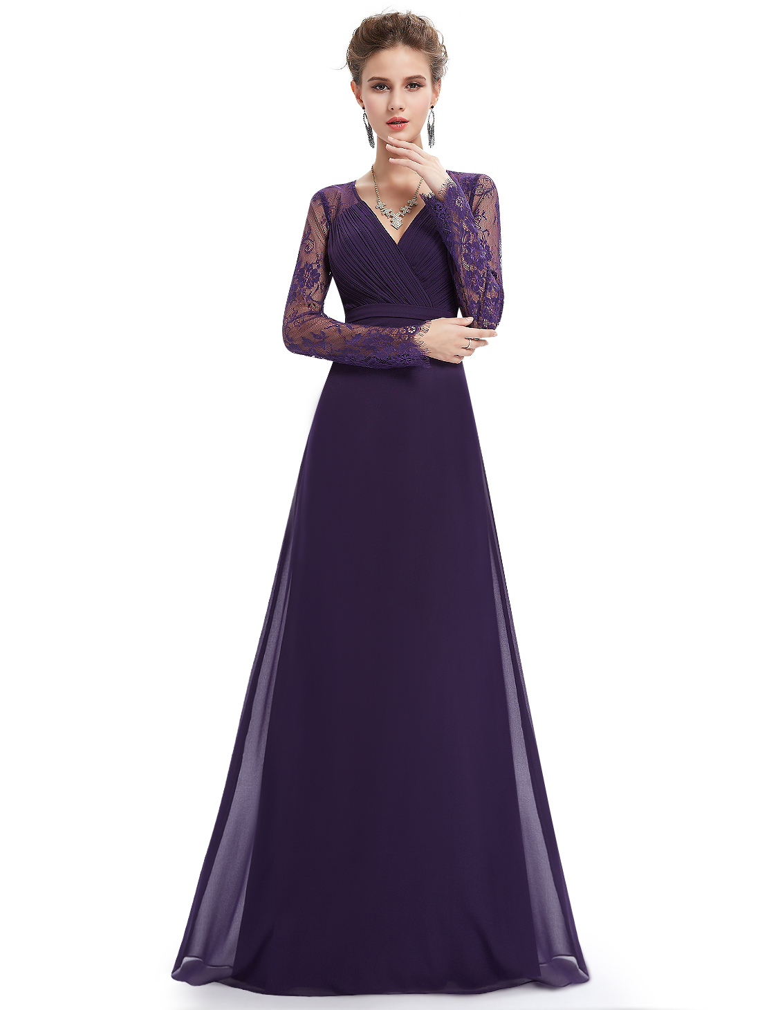 Lace Purple Formal Dress