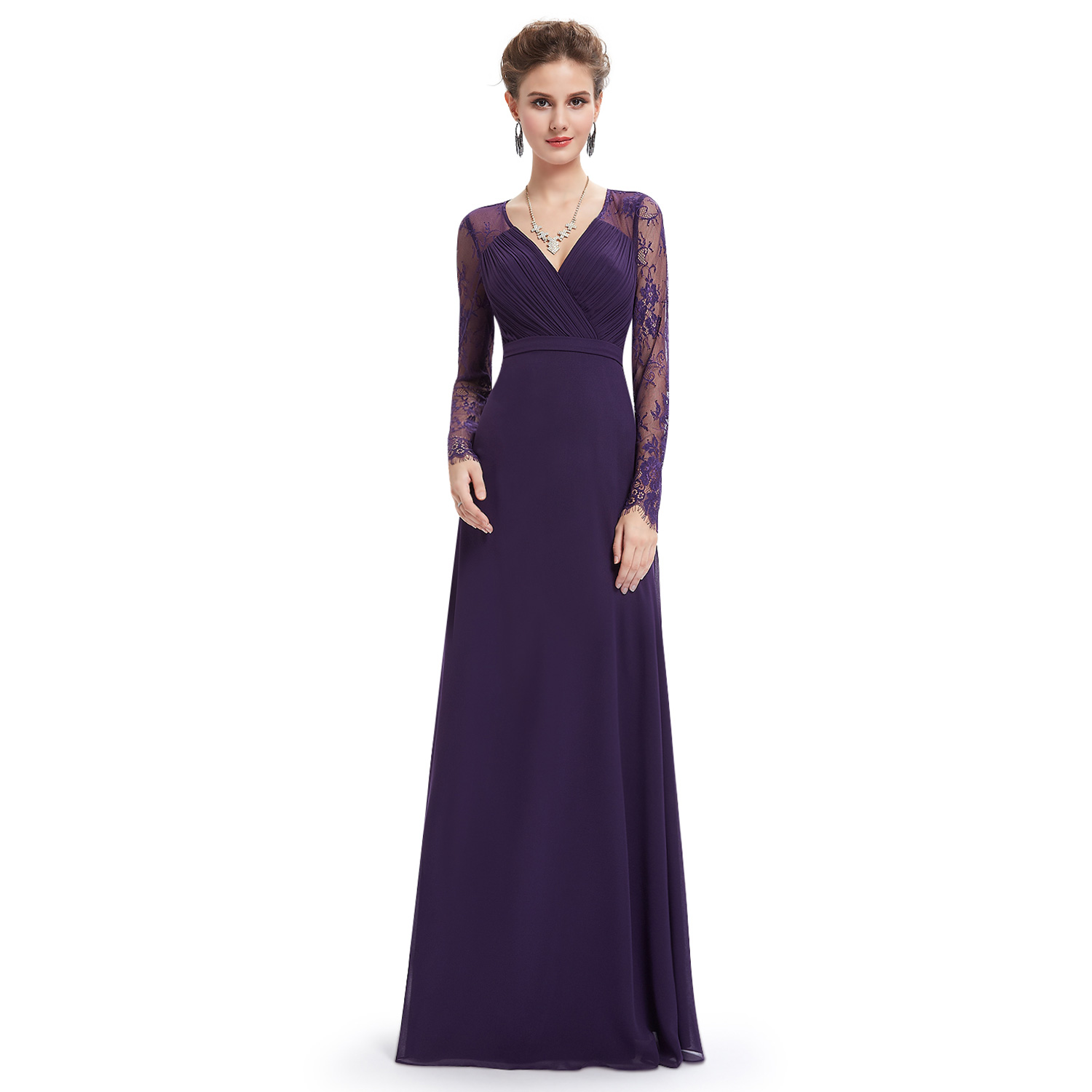 Ever-Pretty Long Sleeve Evening Party Gowns V-neck Bridesmaid ...