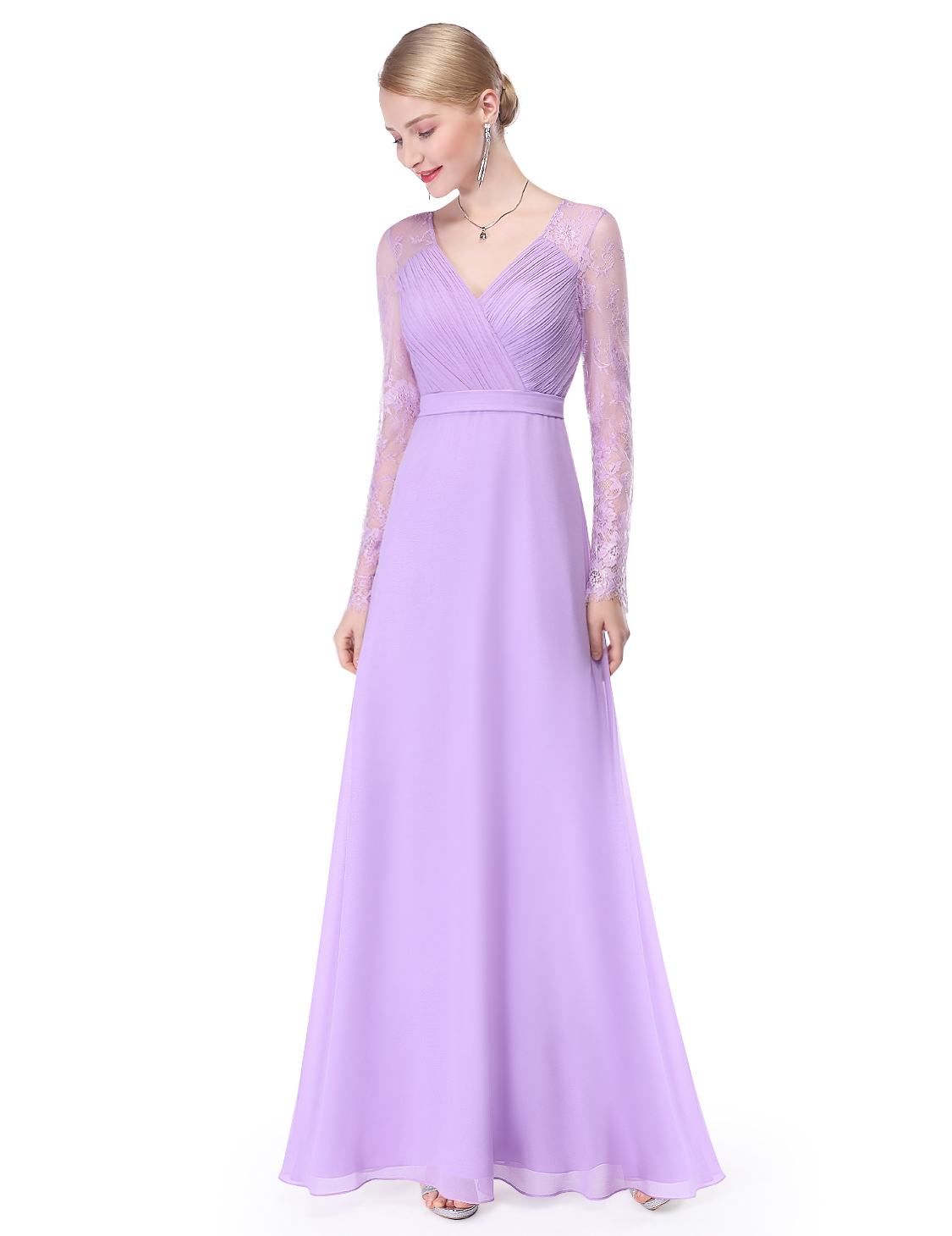 UK Women Long Sleeve Prom Lace Evening Bridesmaid Party Maxi Dress ...