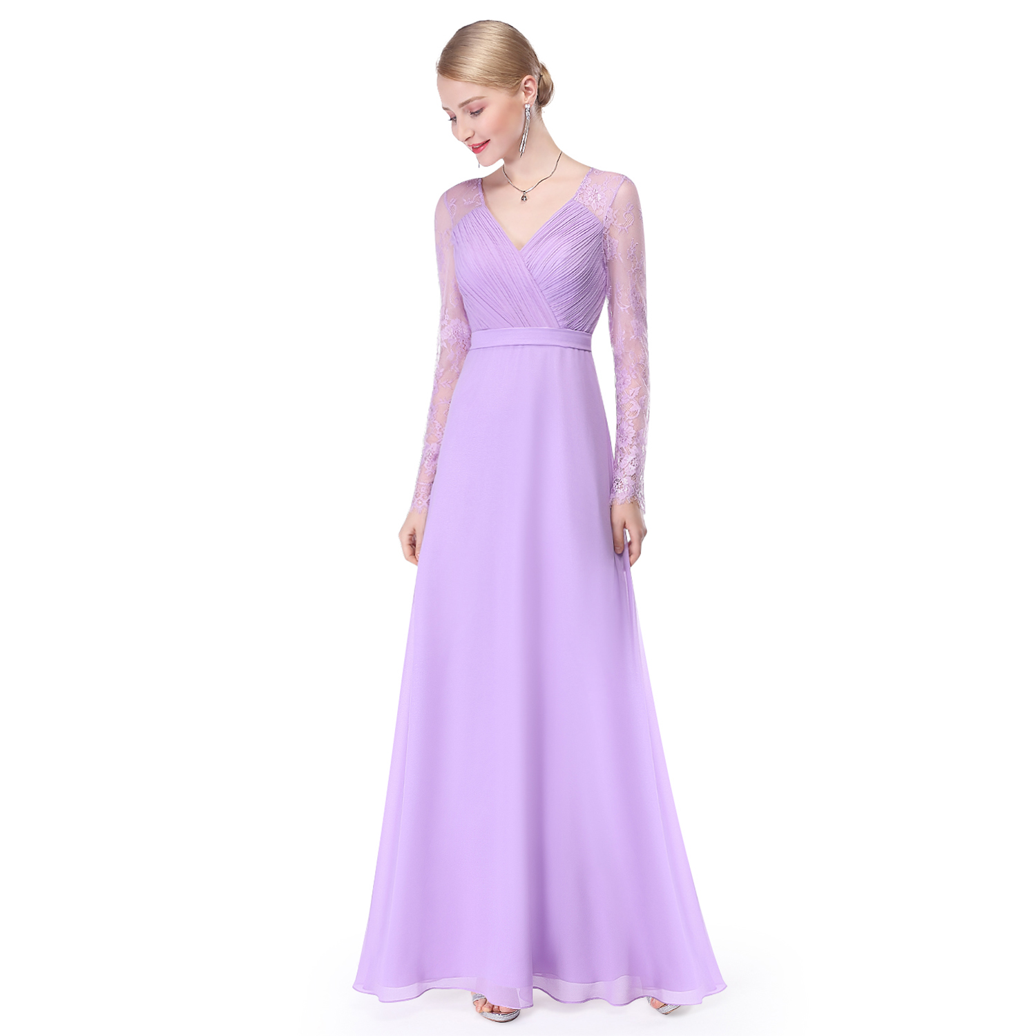 Ever-Pretty Long Sleeve Bridesmaid Wedding Party Dress Maxi Prom ...